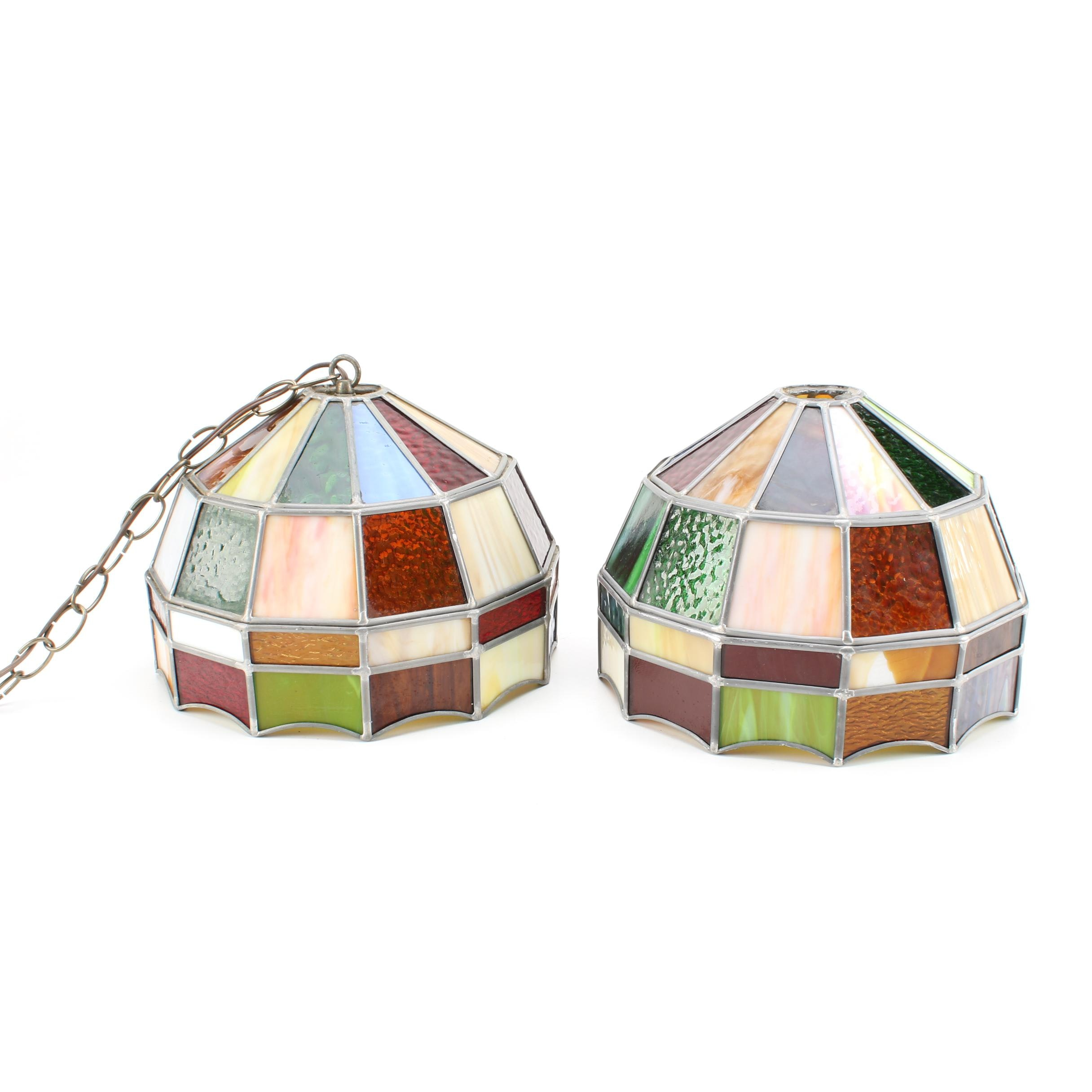 Pair of Stained Glass Hanging Lights