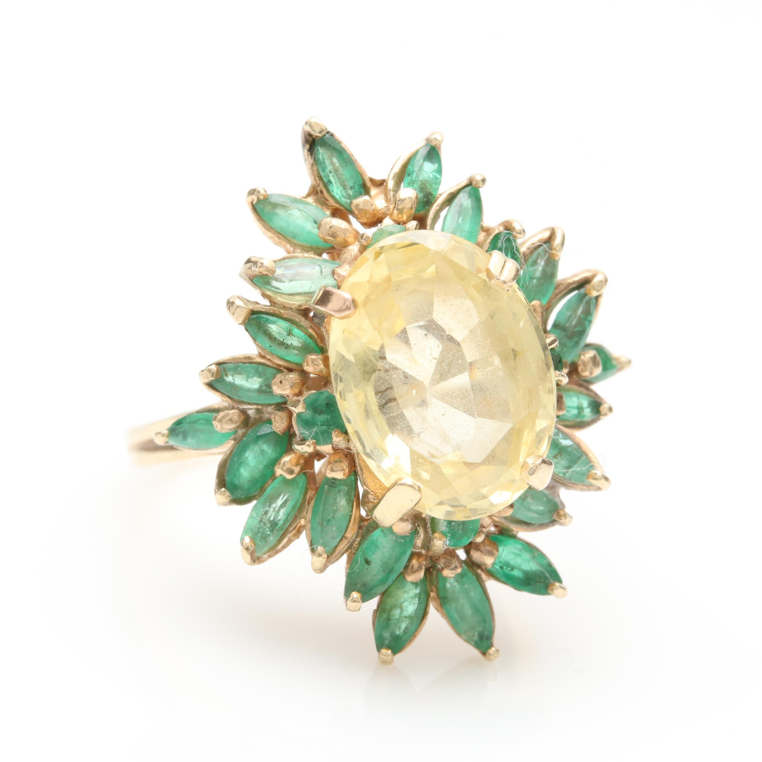 14K Yellow Gold 4.23 CT Yellow Sapphire and Emerald Ring