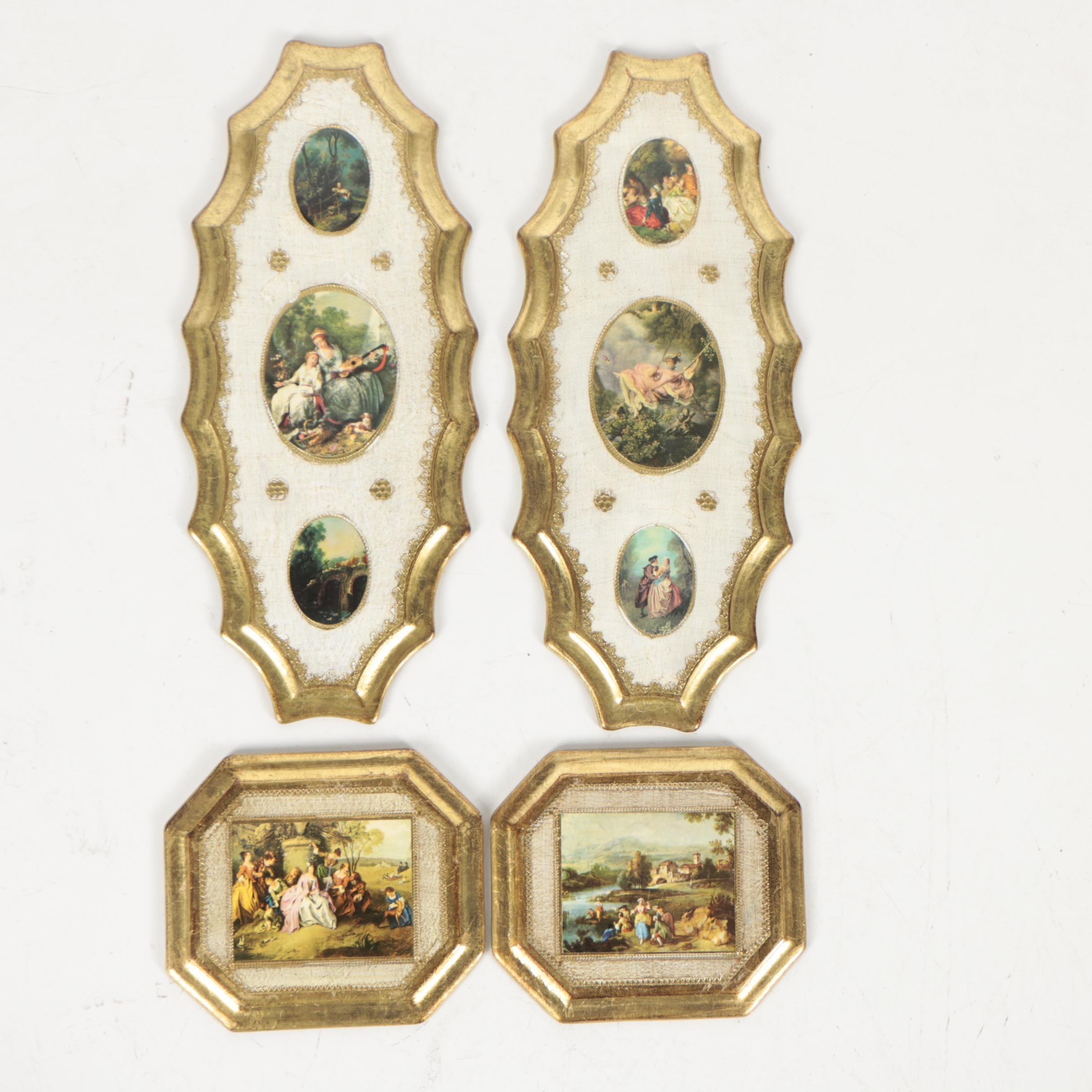 Mid Century Prints After 18th Century Genre Scenes in Decorative Frames