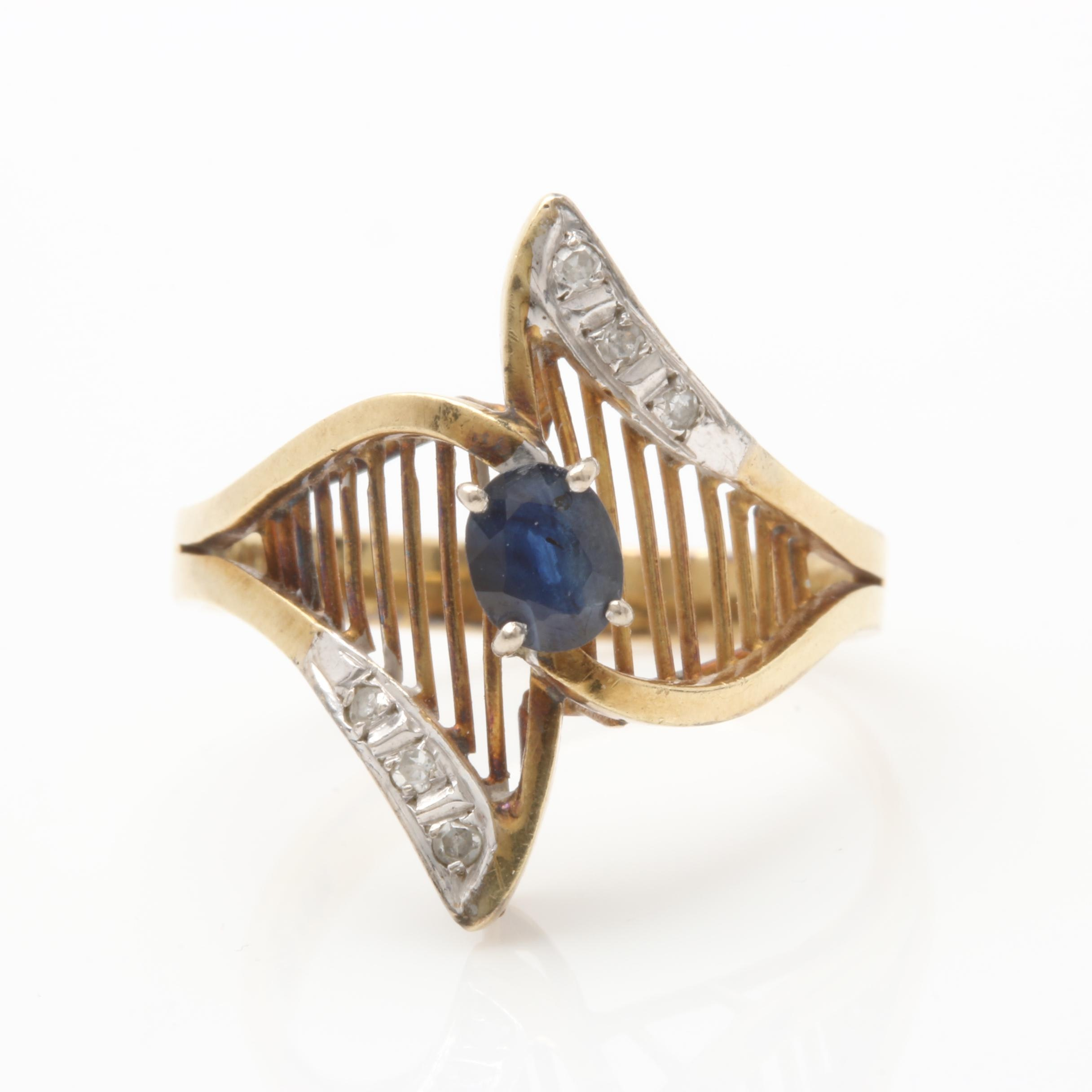 14K Yellow Gold Blue Sapphire and Diamond Ring