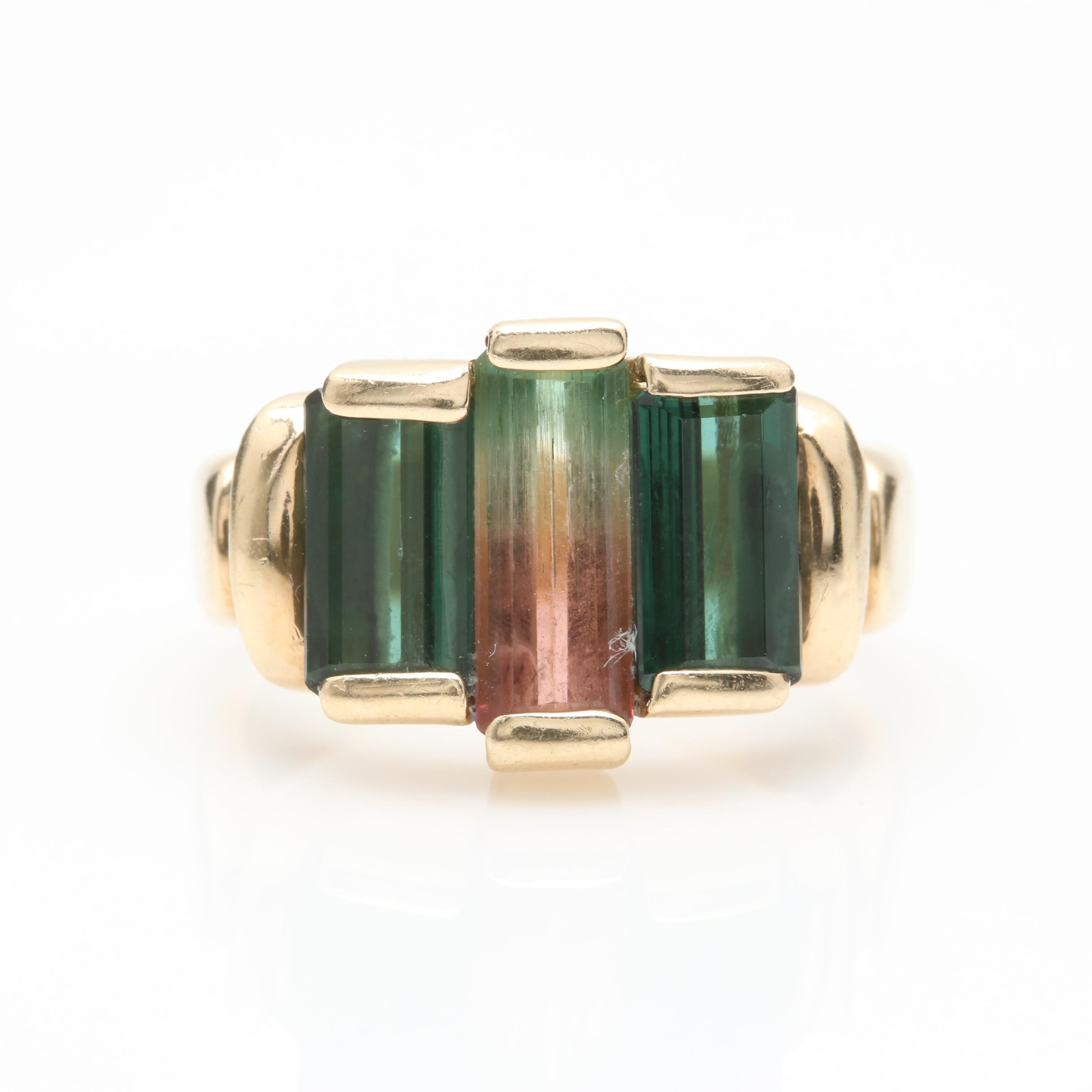14K Yellow Gold Bi-Color Tourmaline and Green Tourmaline Ring