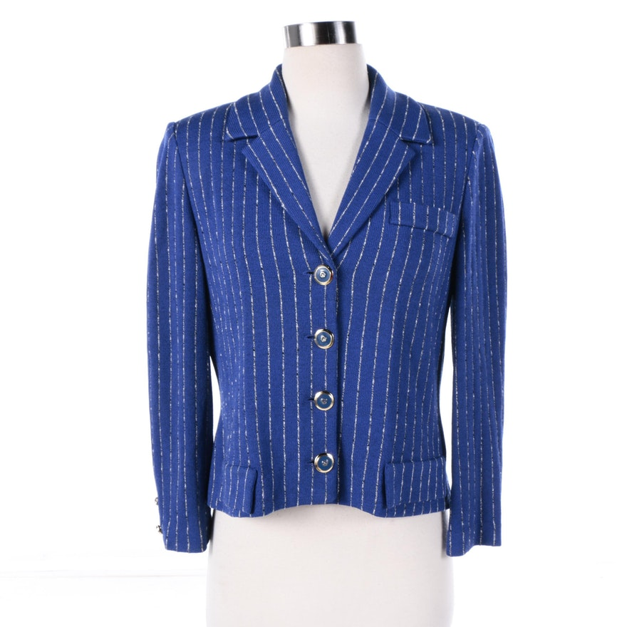 af7cac79 Women's St. John Collection Blue Knit Jacket with Silver Tone Pinstripes ...