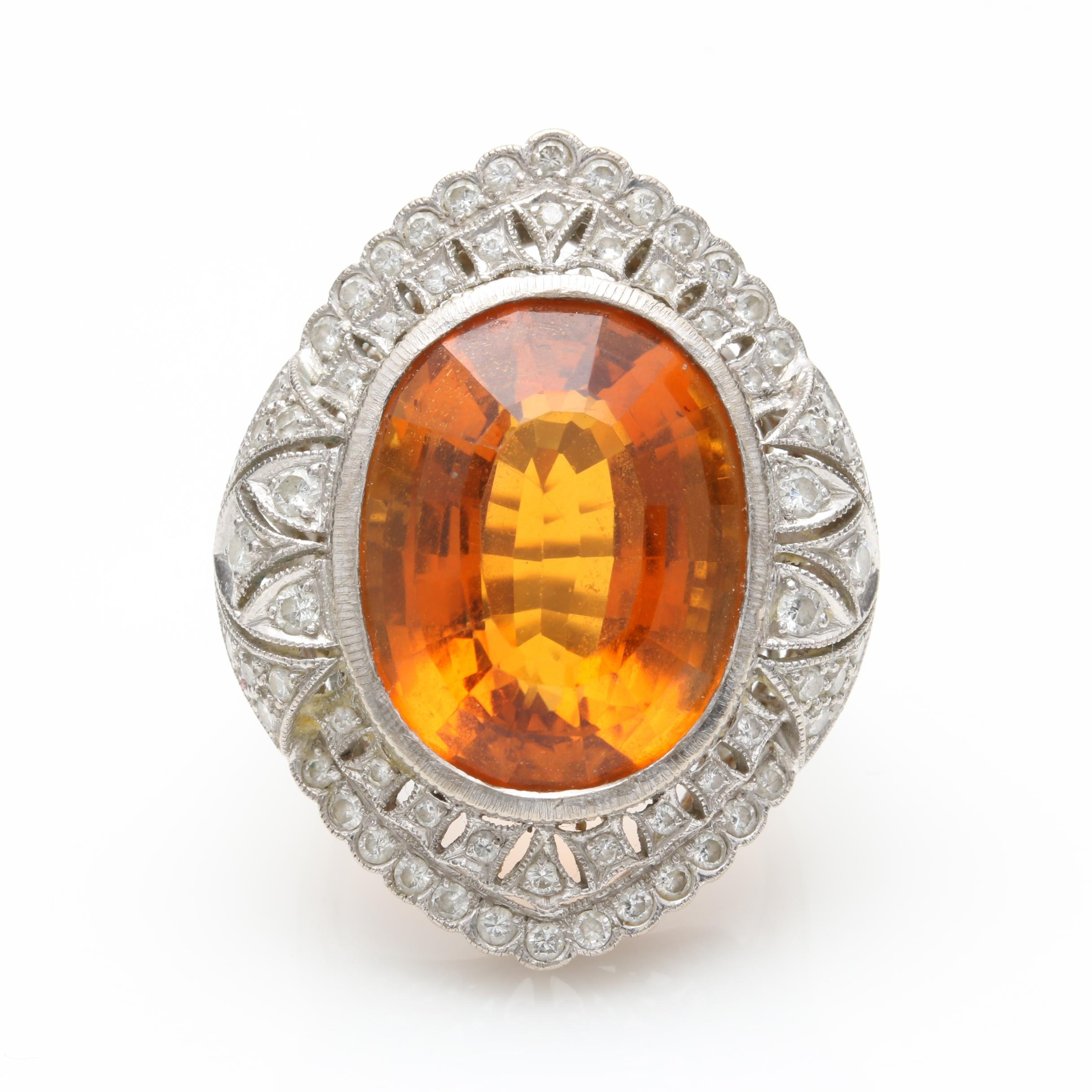 18K White Gold 18.00 CT Citrine and Diamond Ring