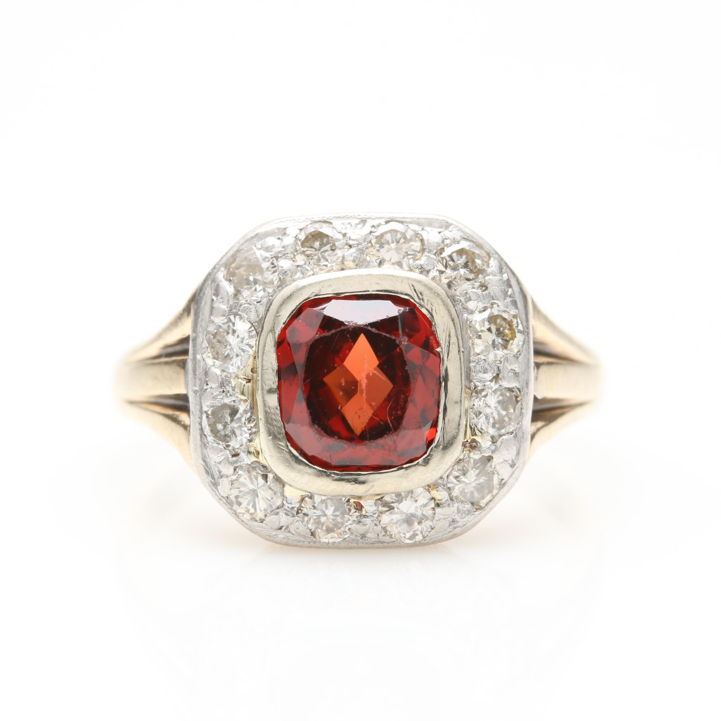 14K Yellow Gold and Platinum Garnet and Diamond Ring