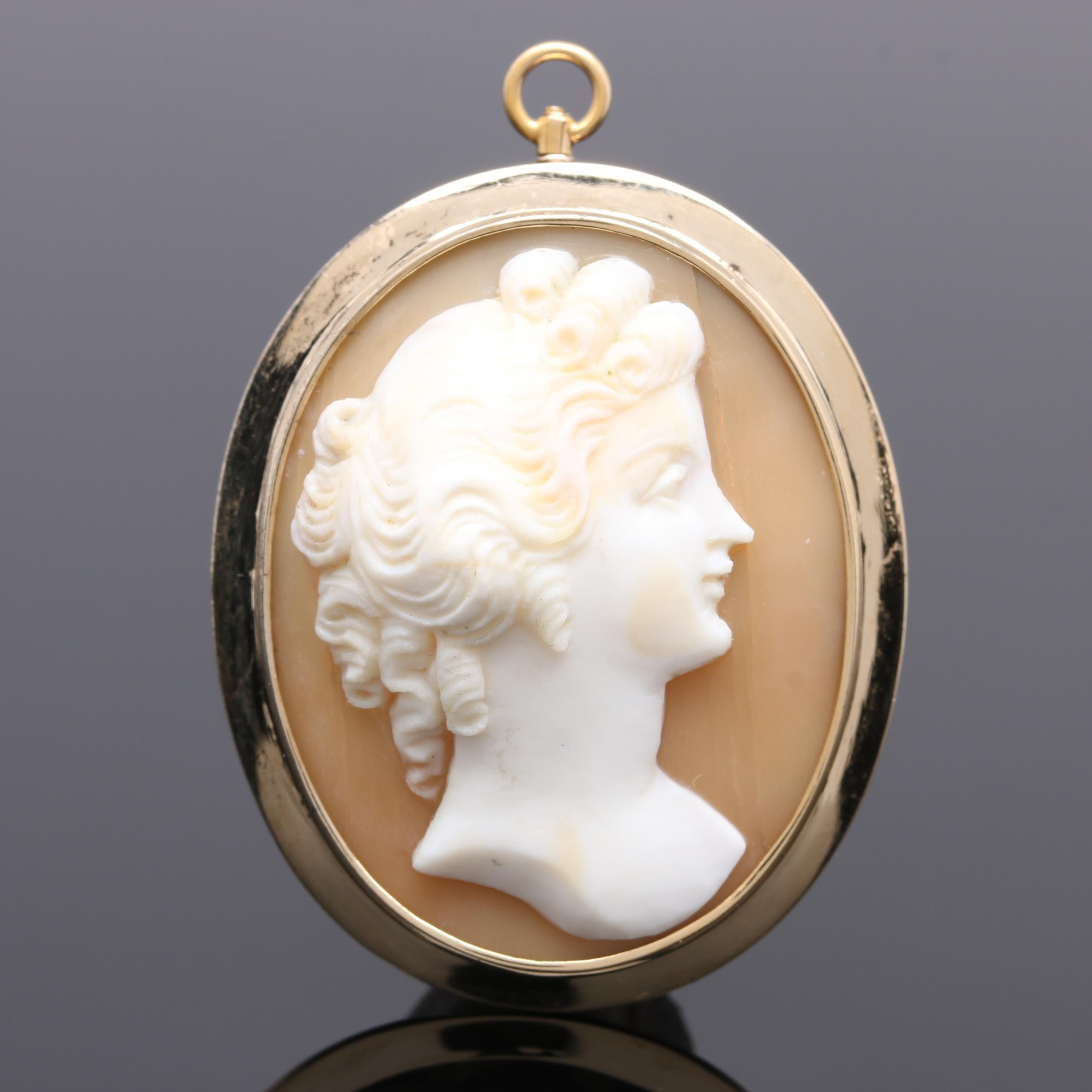 14K  and 10K Yellow Gold Helmet Shell Cameo Pendant Brooch