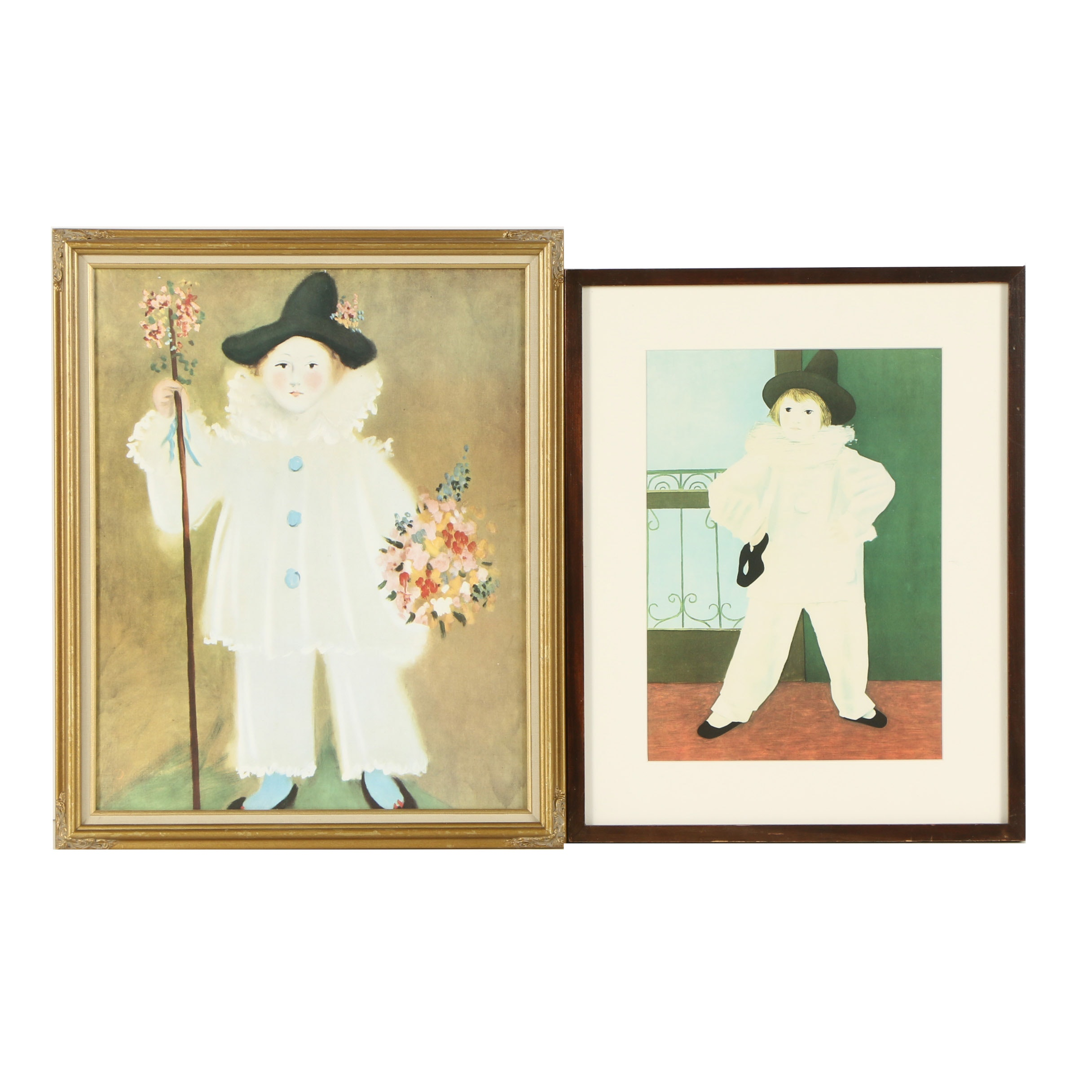 """Offset Lithographs After Pablo Picasso """"Pierrot with Flowers"""" and """"Dancer"""""""