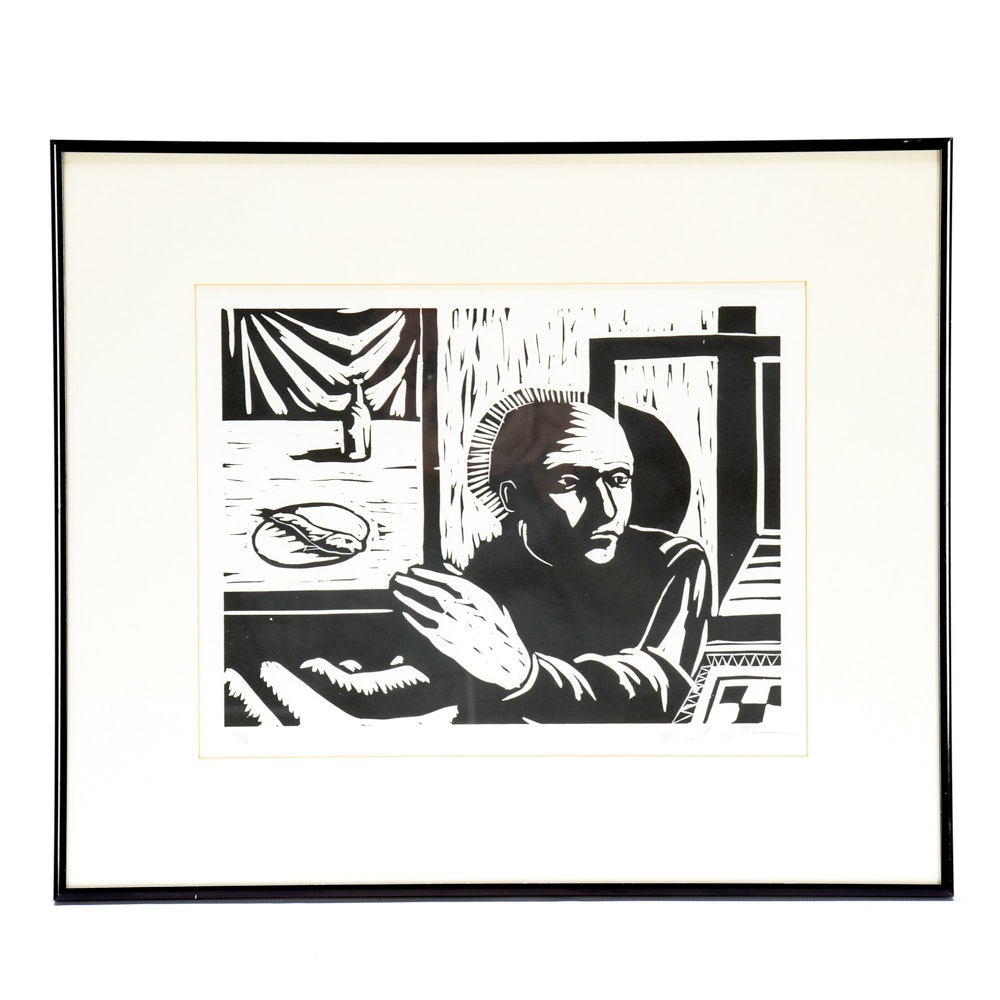 Signed Limited Edition Block Print of a Figure