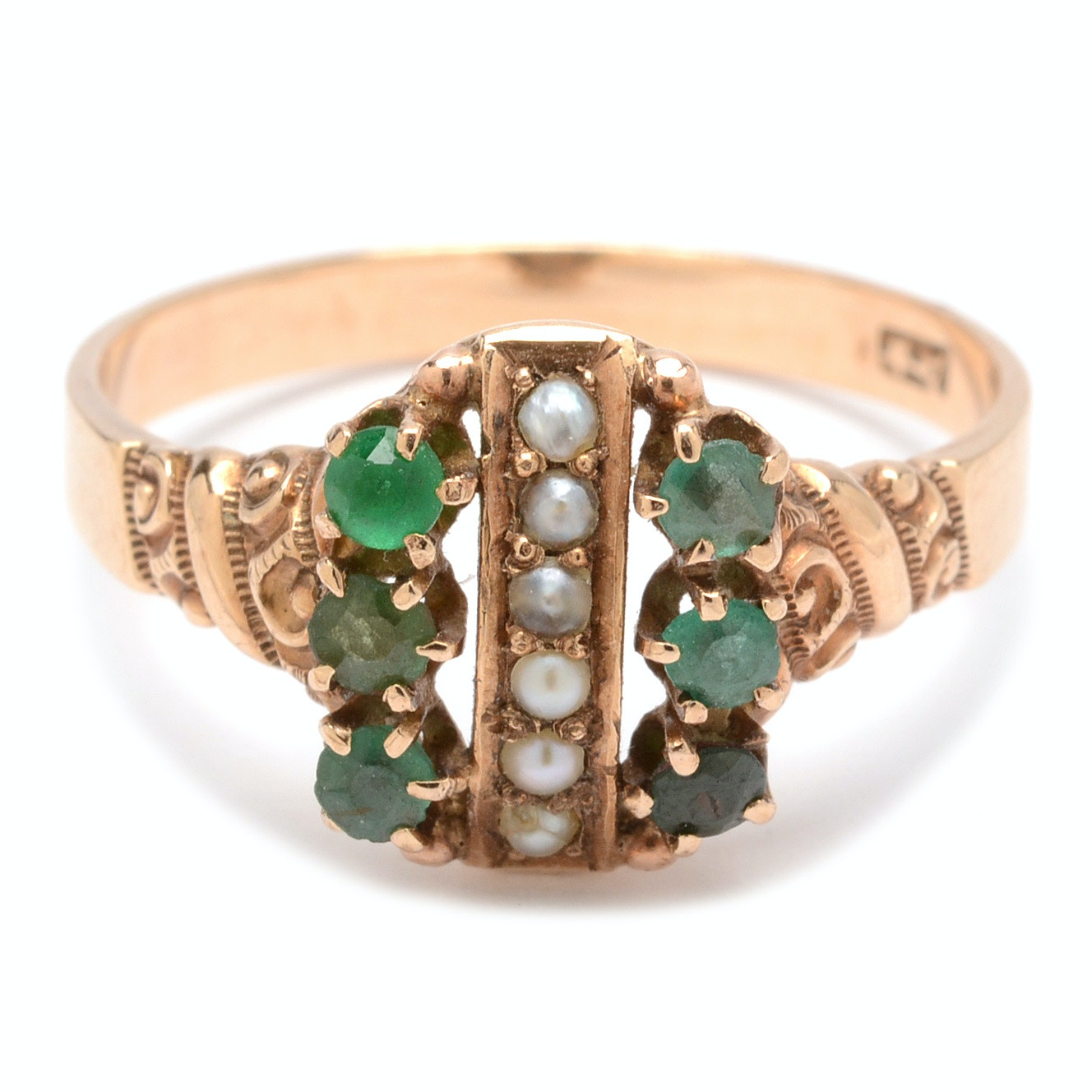 Victorian 10K Yellow Gold Seed Pearl and Emerald Ring