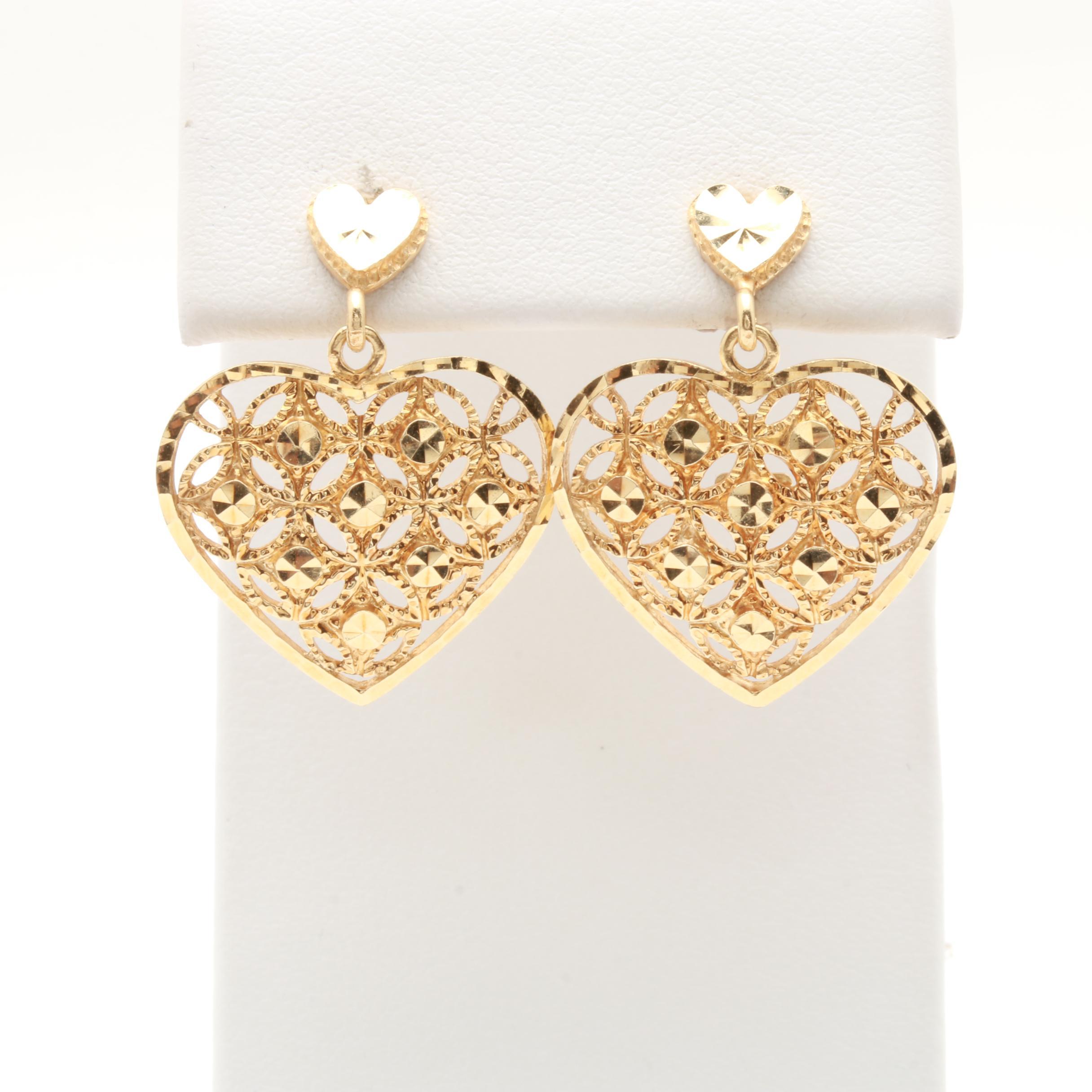 Beverly Hills Gold 14K Yellow Gold Heart Earrings EBTH