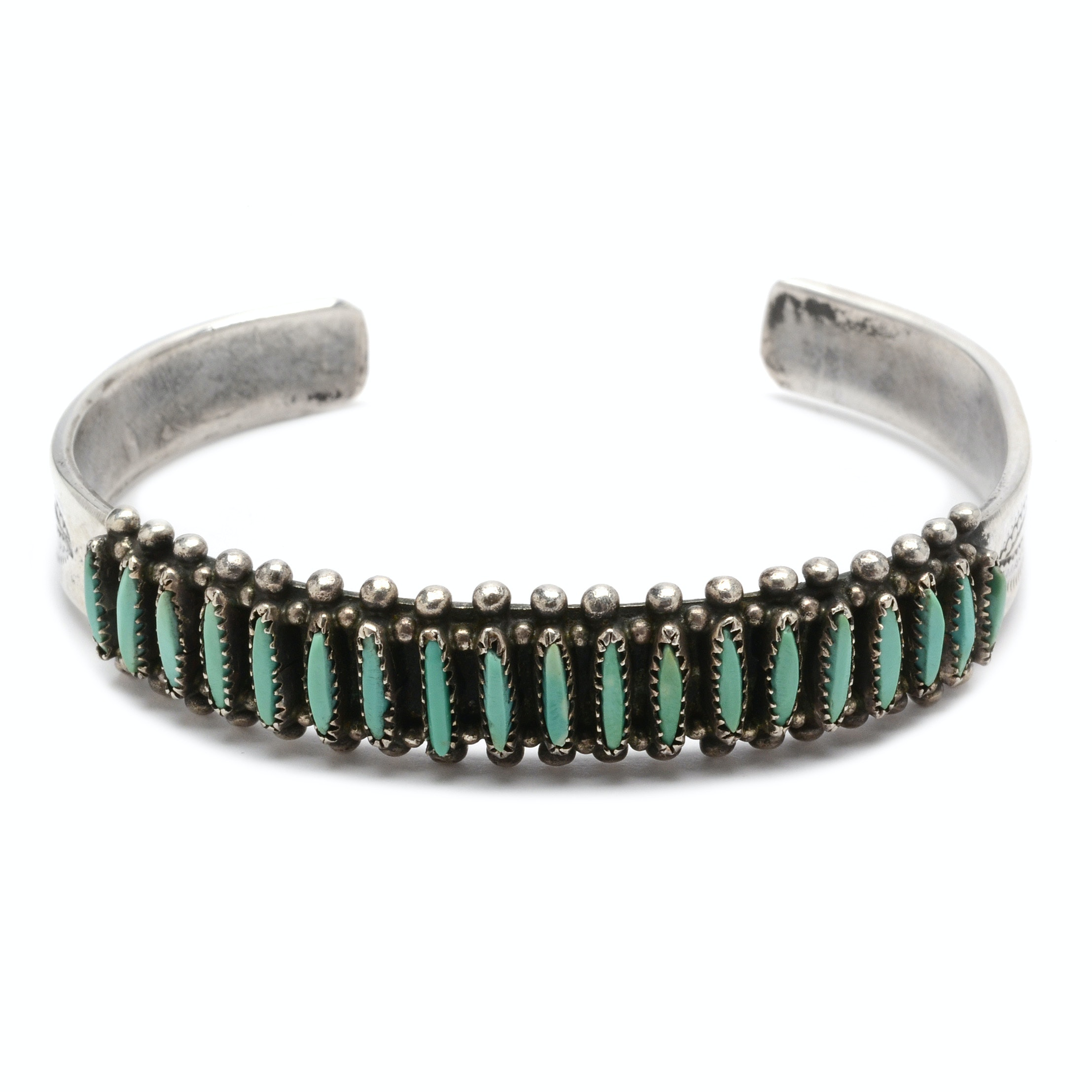 Sterling Silver Turquoise Southwestern Style Needlepoint Cuff Bracelet