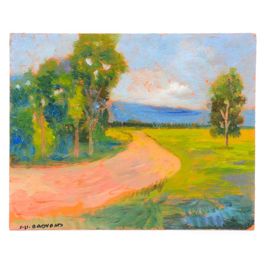 Sulmaz Radvand Original Acrylic on Board Impressionist Landscape Painting  ... - Sulmaz Radvand Original Acrylic On Board Impressionist Landscape