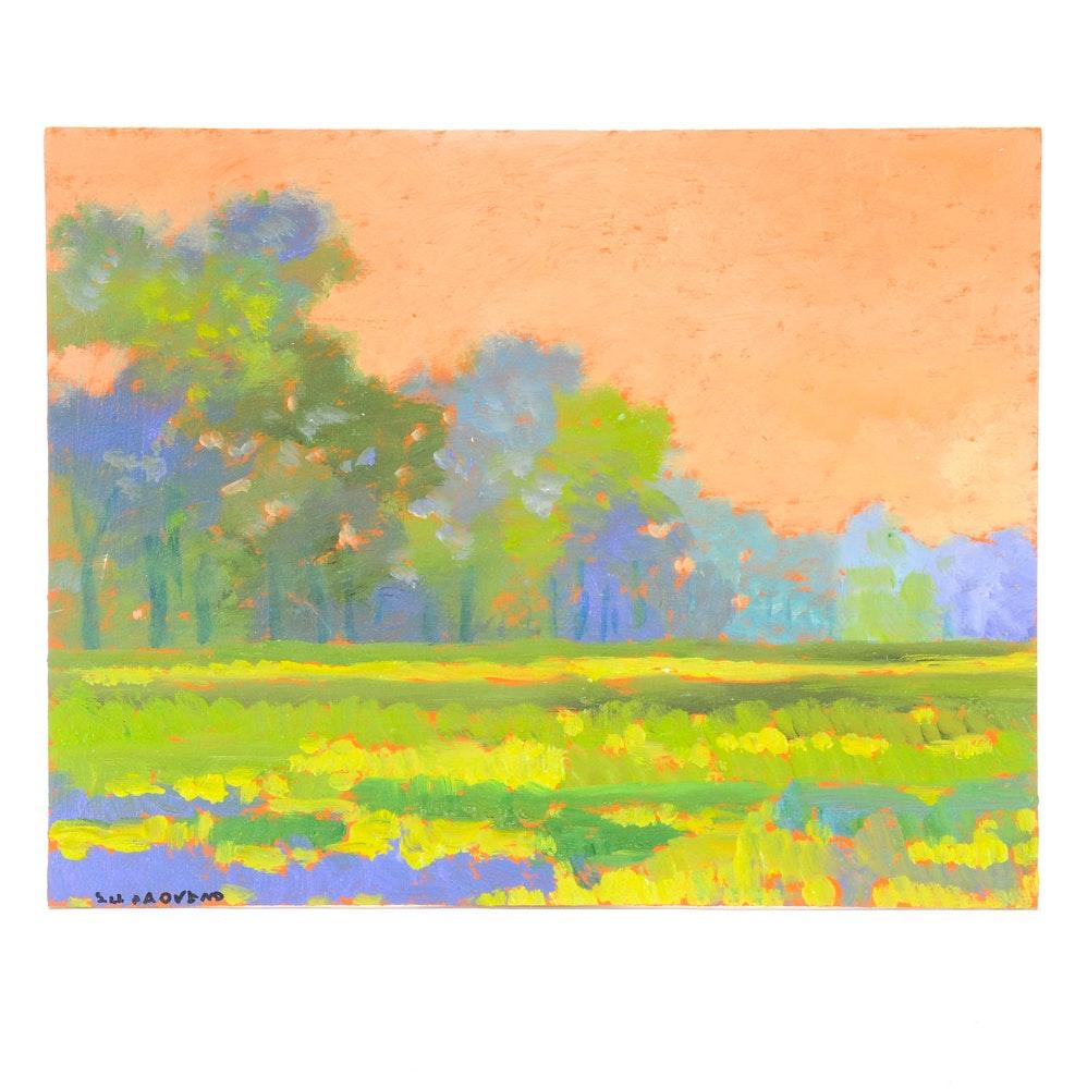 Sulmaz Radvand Original Acrylic Painting on Board of Summer Landscape