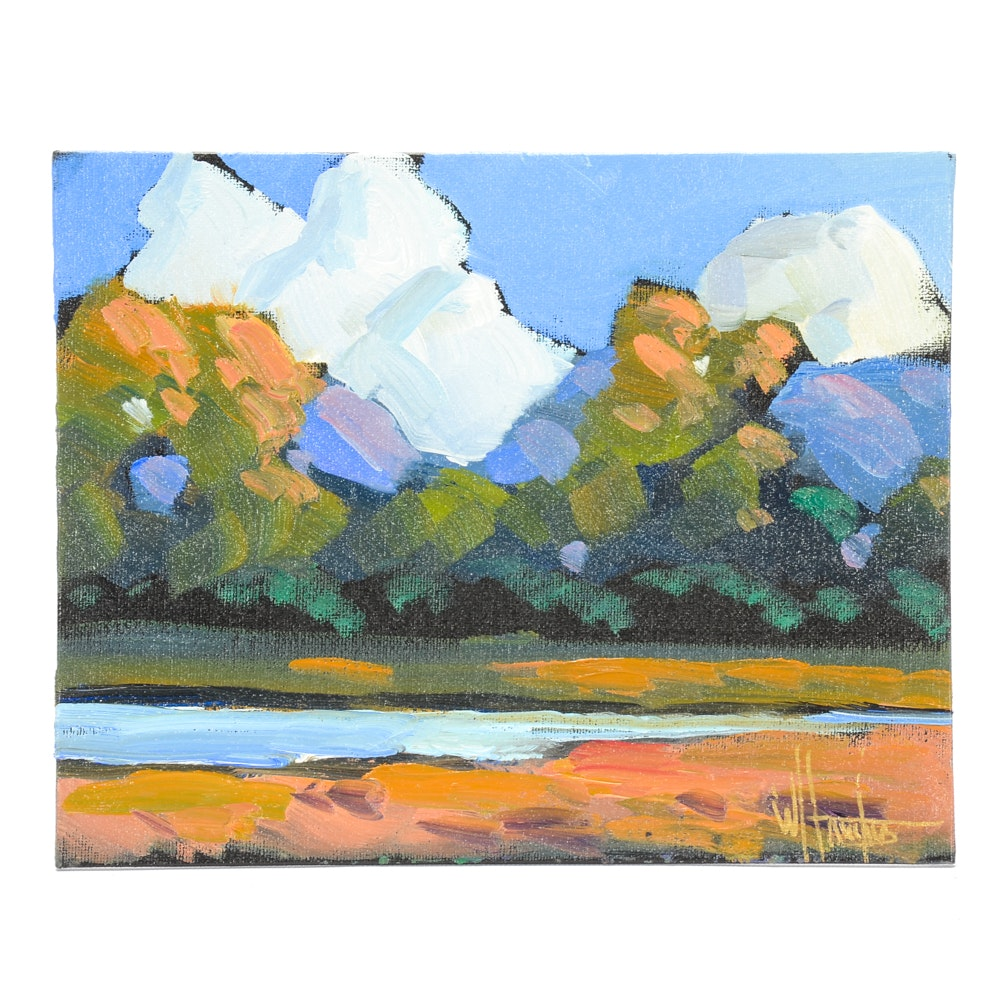 William Hawkins Oil Painting on Canvas Board of River Scene