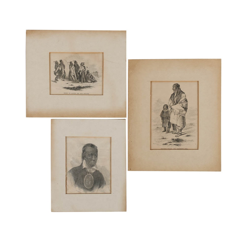 Collection of Engravings on Paper of Native Americans