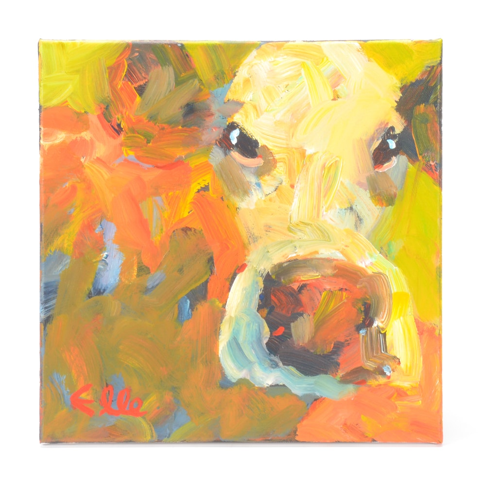 Elle Raines Original Acrylic Painting on Canvas of a Cow