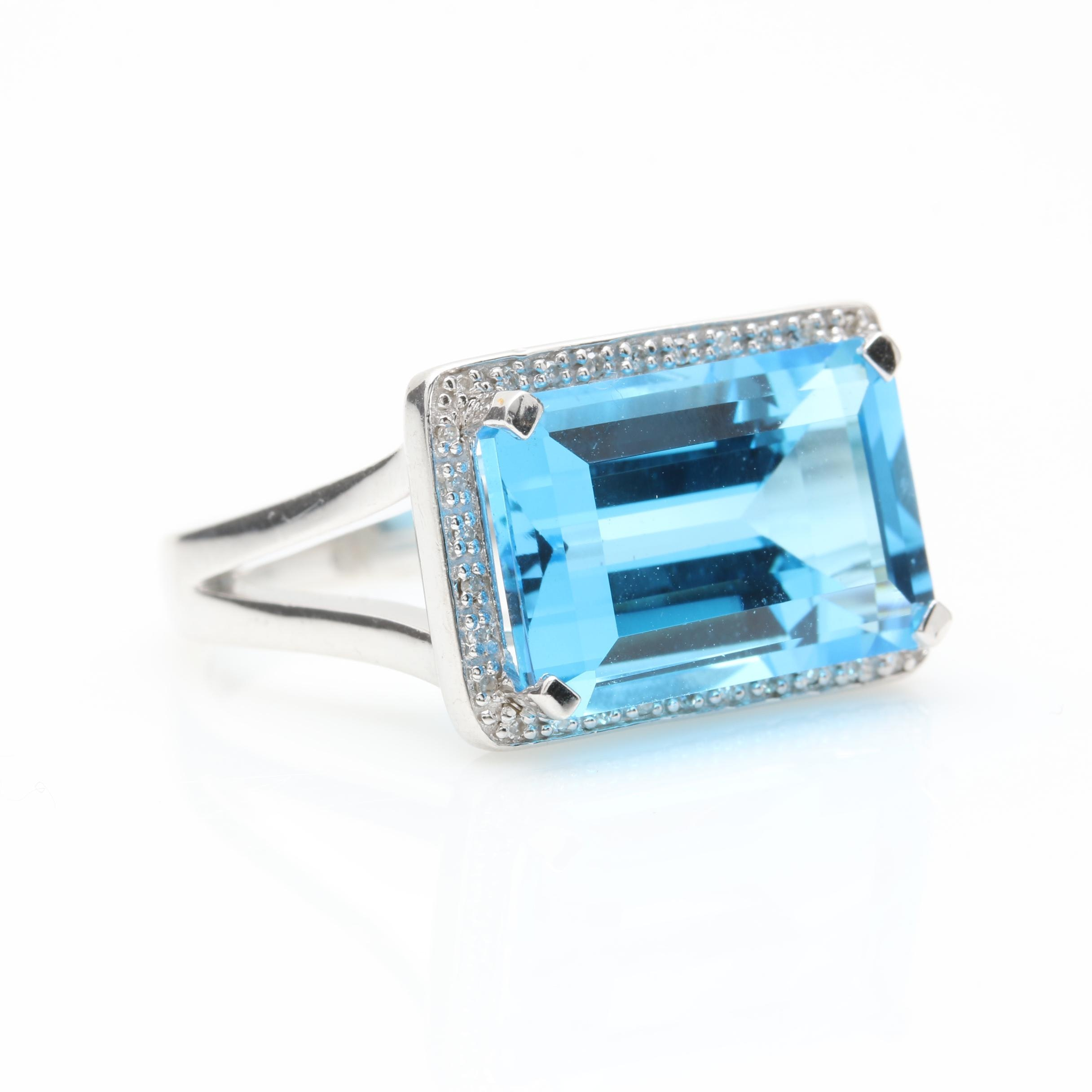 Sterling Silver Blue Topaz and Diamond Ring
