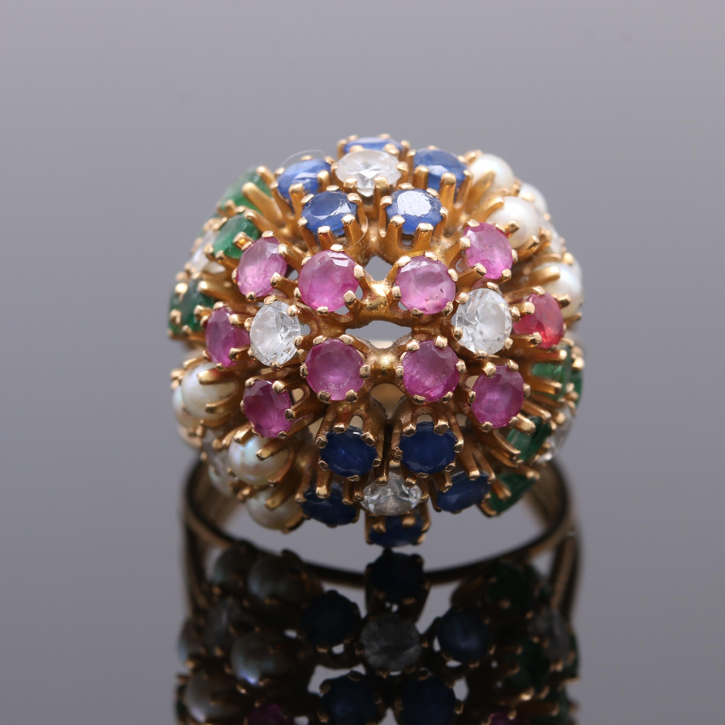 18K Yellow Gold Multi Gemstone Floral Dome Ring