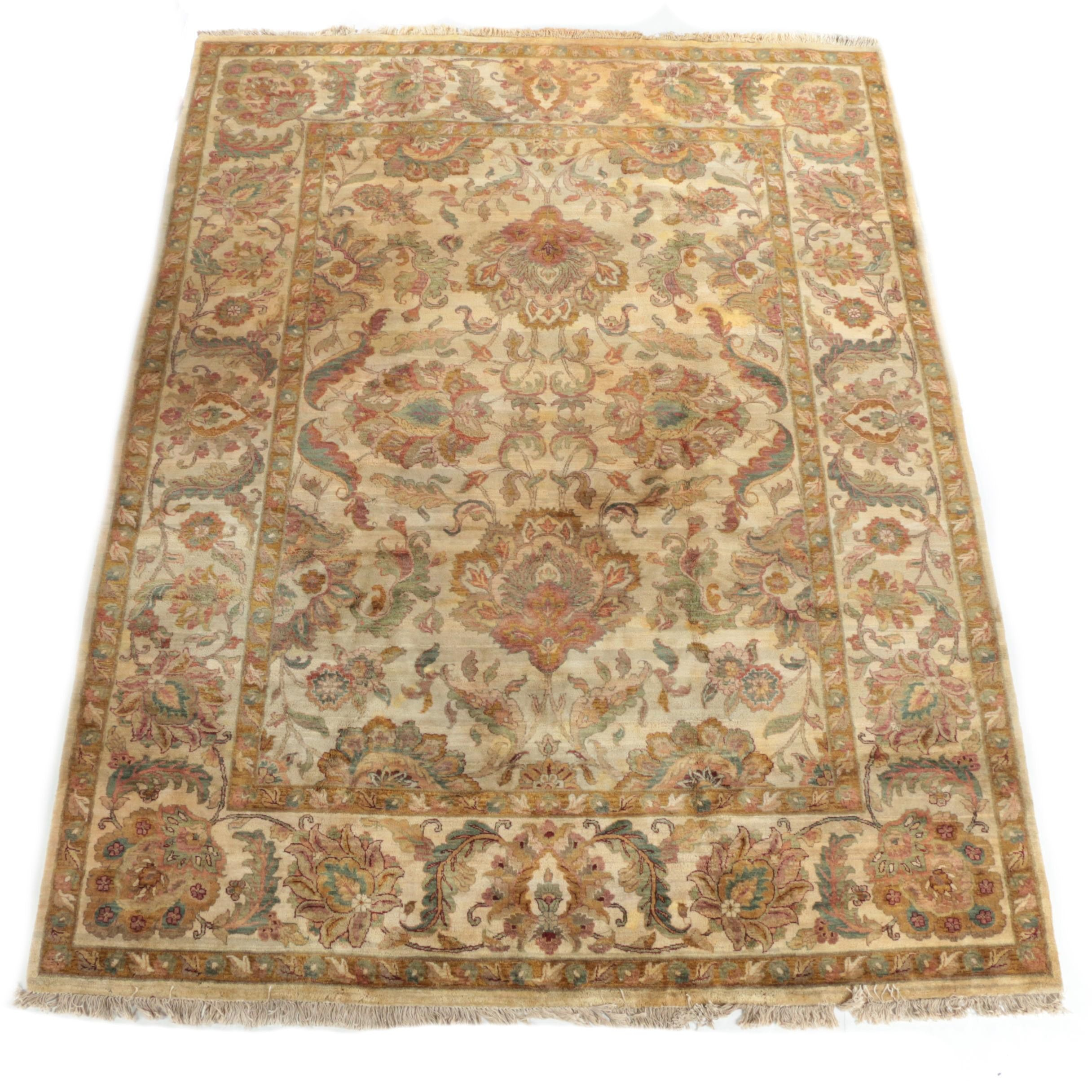 Hand-Knotted Indian Wool Room Size Rug