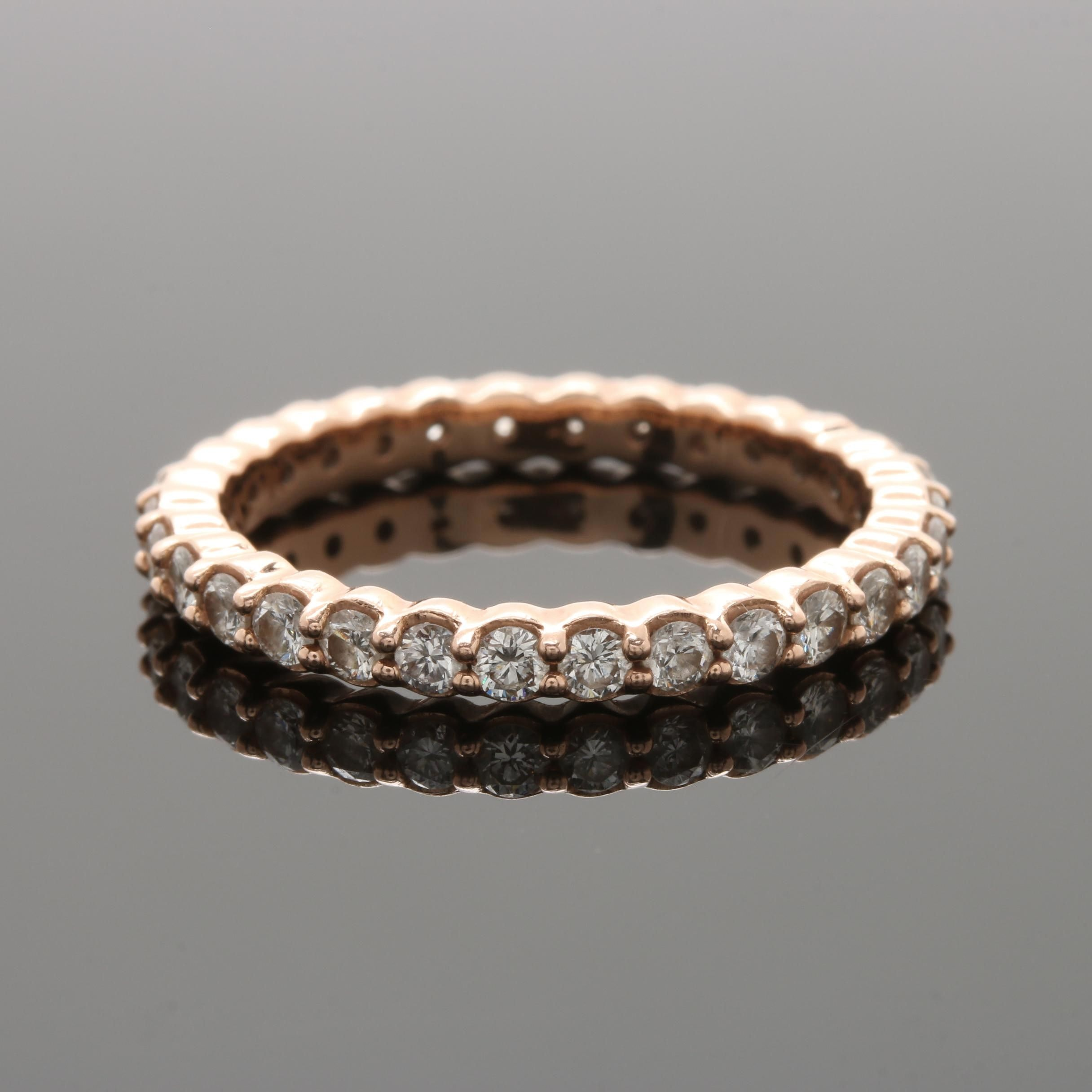 14K Rose Gold 0.98 CTW Diamond Eternity Ring