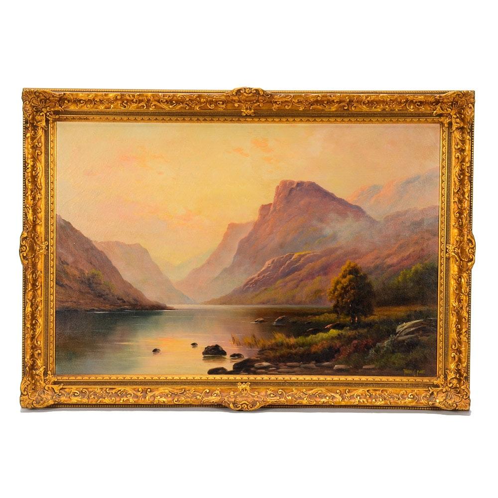 "Thomas C. Blake Oil Painting on Canvas ""A Highland Sunset"""