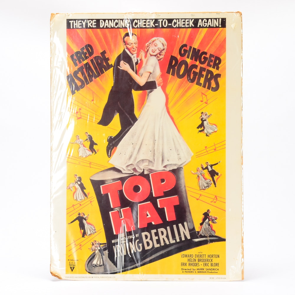 "Vintage Movie Poster for ""Top Hat"" with Fred Astaire and Ginger Rogers"