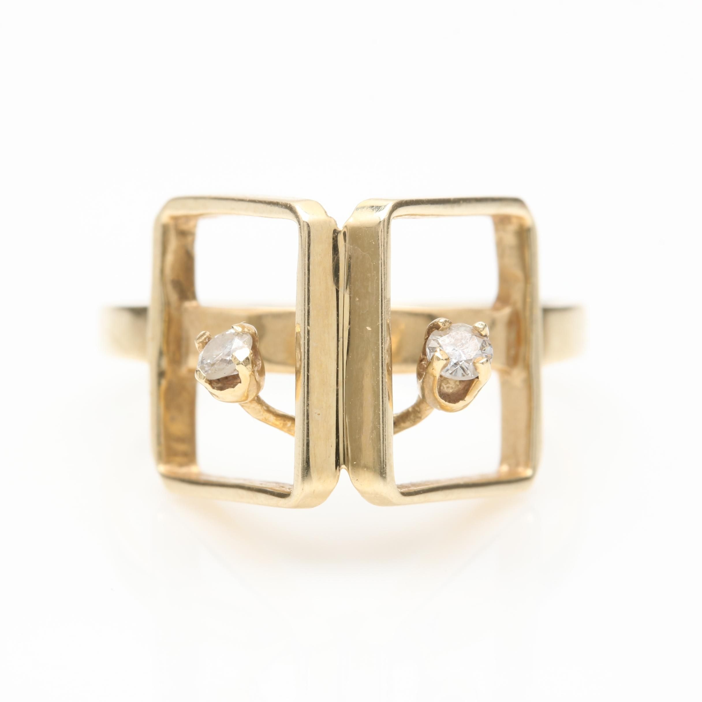 14K Yellow Gold Diamond Geometric Ring