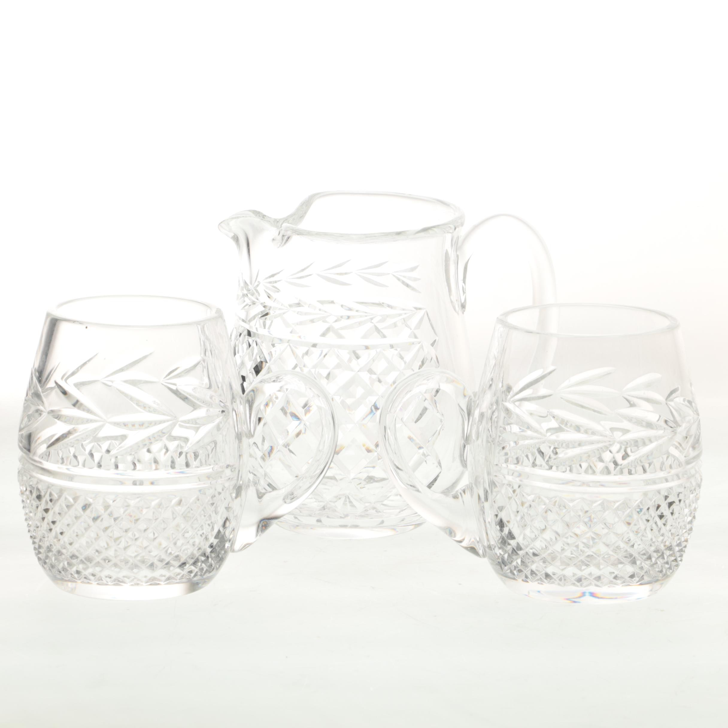 "Waterford Crystal ""Glandore"" Pitcher and Mugs"