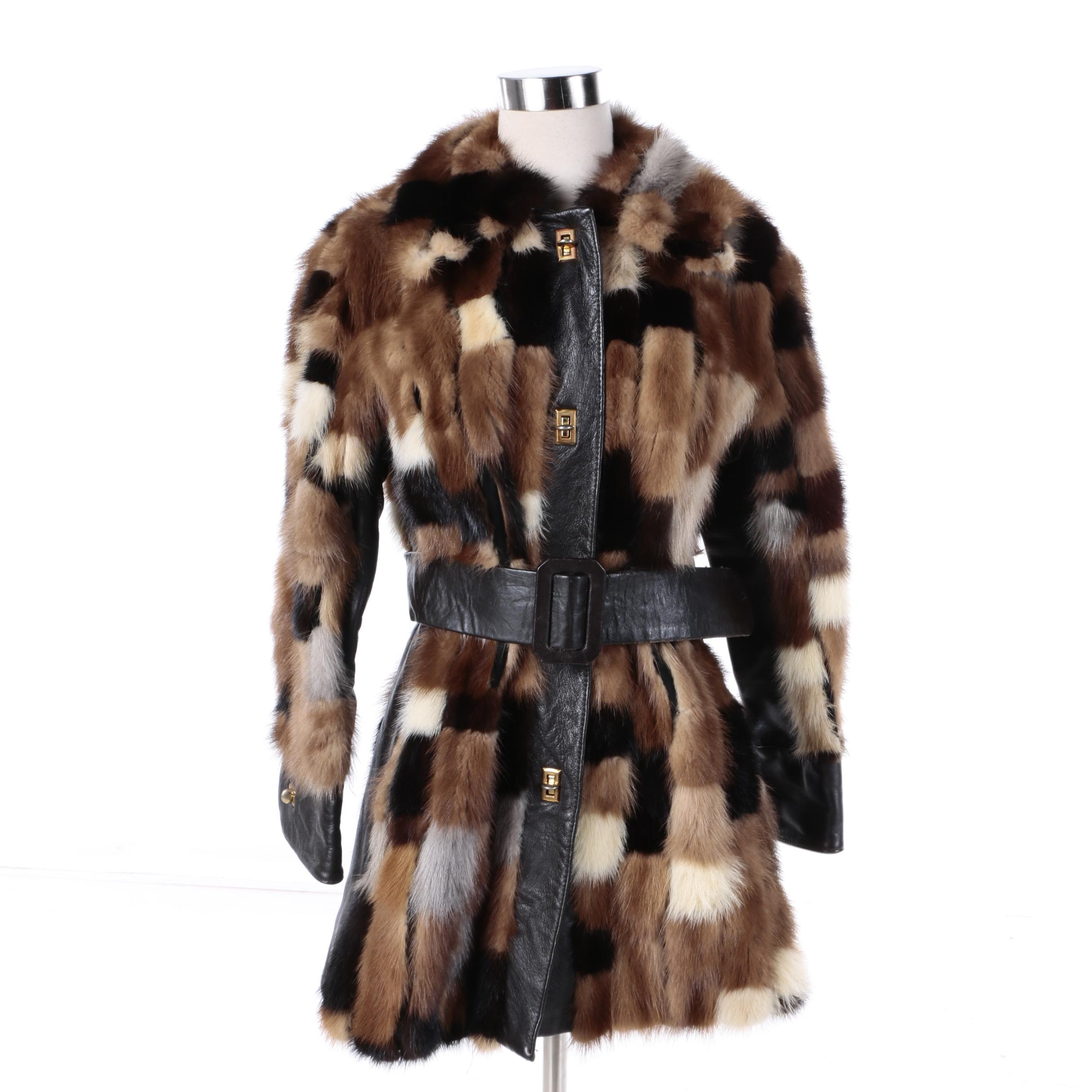 Women's Vintage Patchwork Mink Fur and Leather Coat