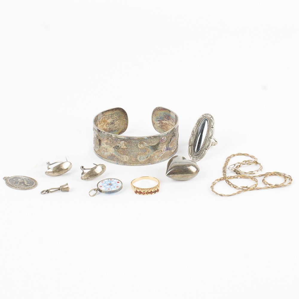800 Silver Pendant and Sterling Jewelry with Ecuadoran Cuff and Avery Charm