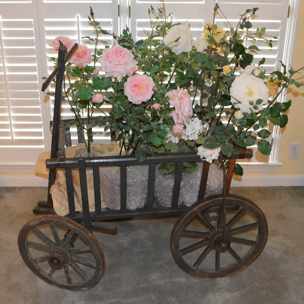 Vintage Wood Cart with Faux Flowers in Pots