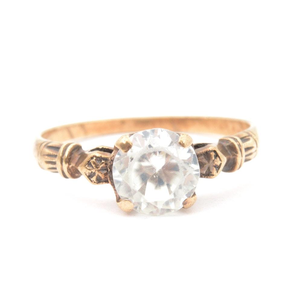 Vintage 10K Yellow Gold Cubic Zirconia Ring