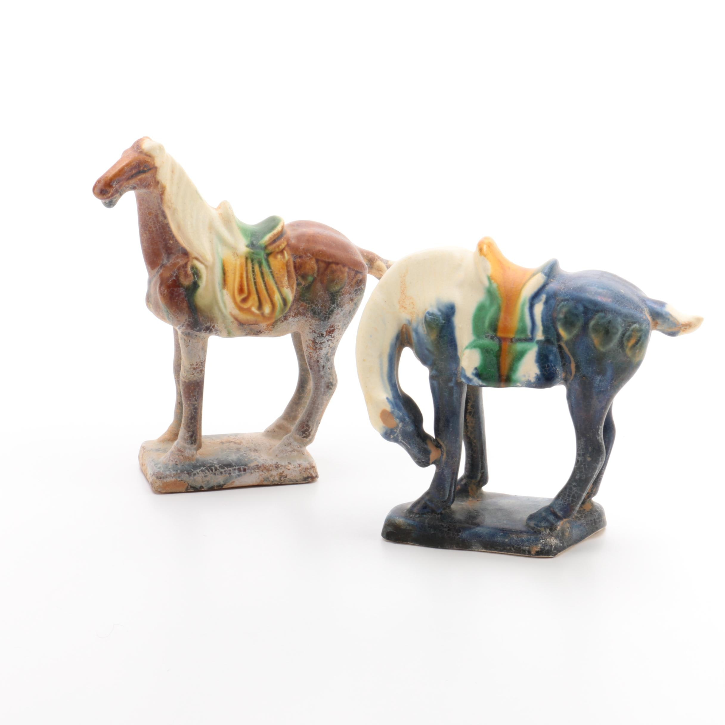 Two Chinese Tang Style Ceramic Horses