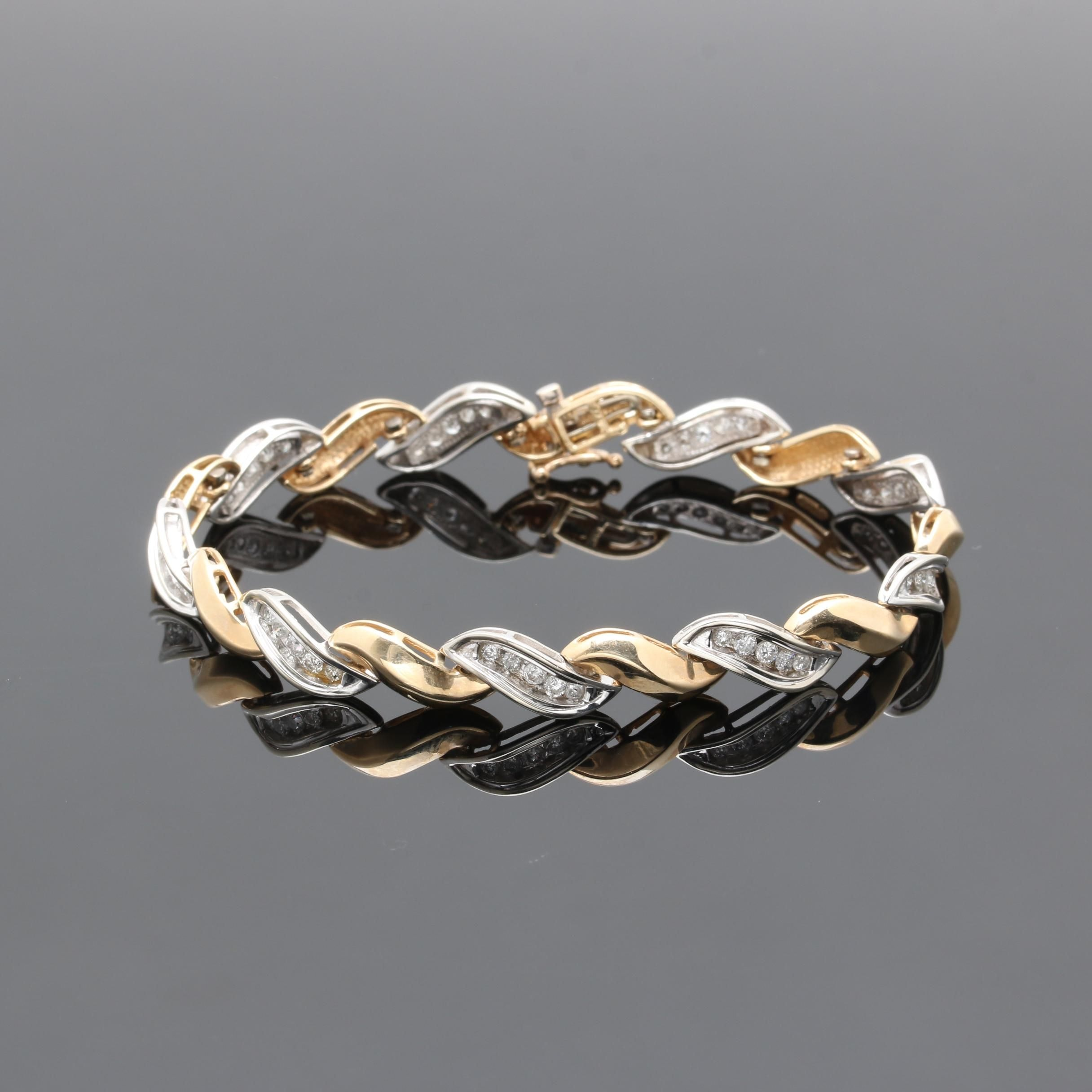 10K Two Tone Gold 1.05 CTW Diamond Bracelet