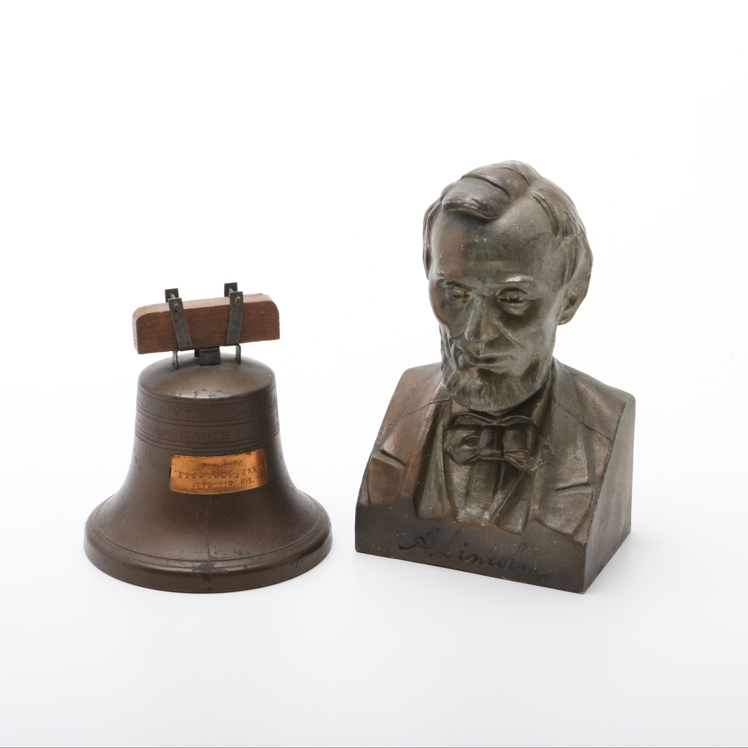 Cast Metal Promotional Coin Banks Including Liberty Bell and Lincoln Bust