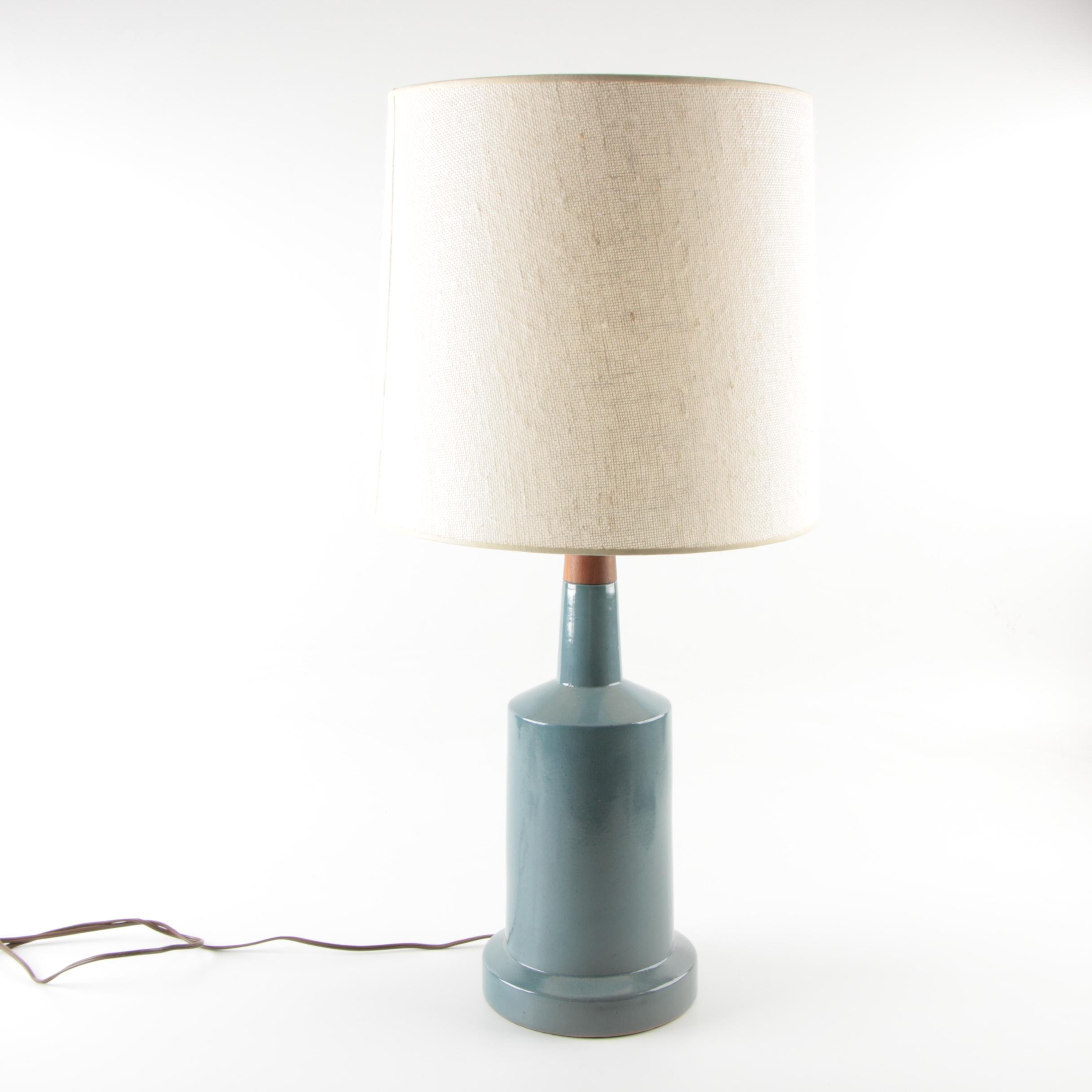 Ceramic and Wood Table Lamp With Brass Dragonfly Finial