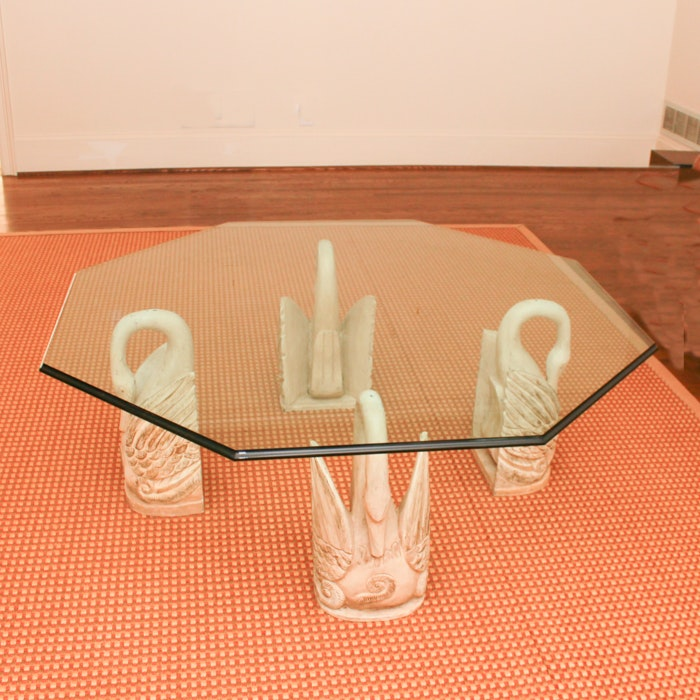 Octagonal Glass Coffee Table with Swan Supports