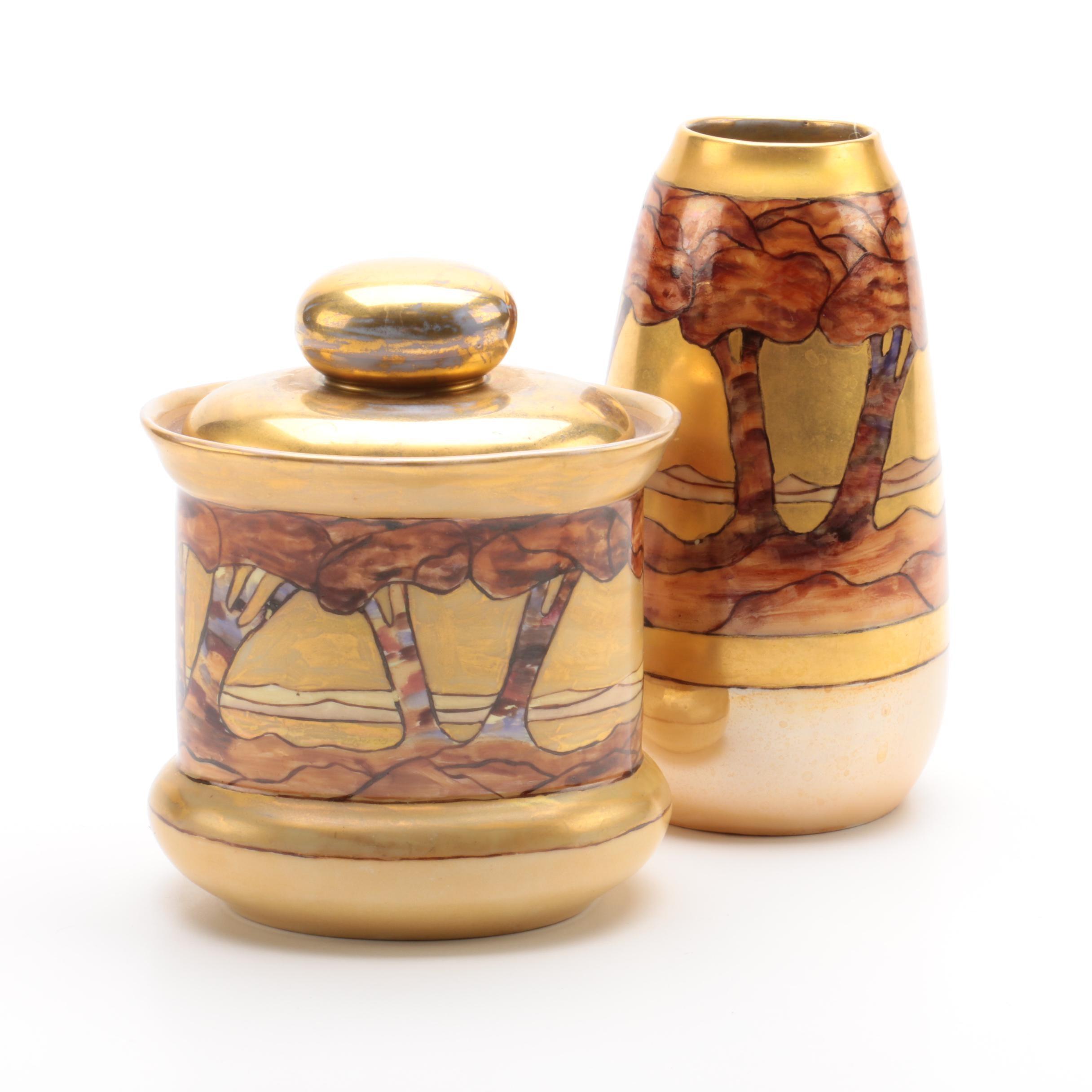 Antique Hobbyist Hand-Painted Vase and Dresser Jar