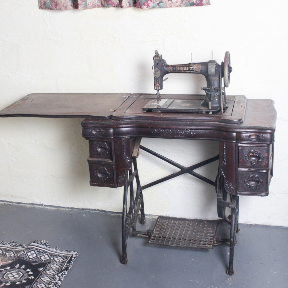 Antique Circa 1890s White Sewing Machine Table