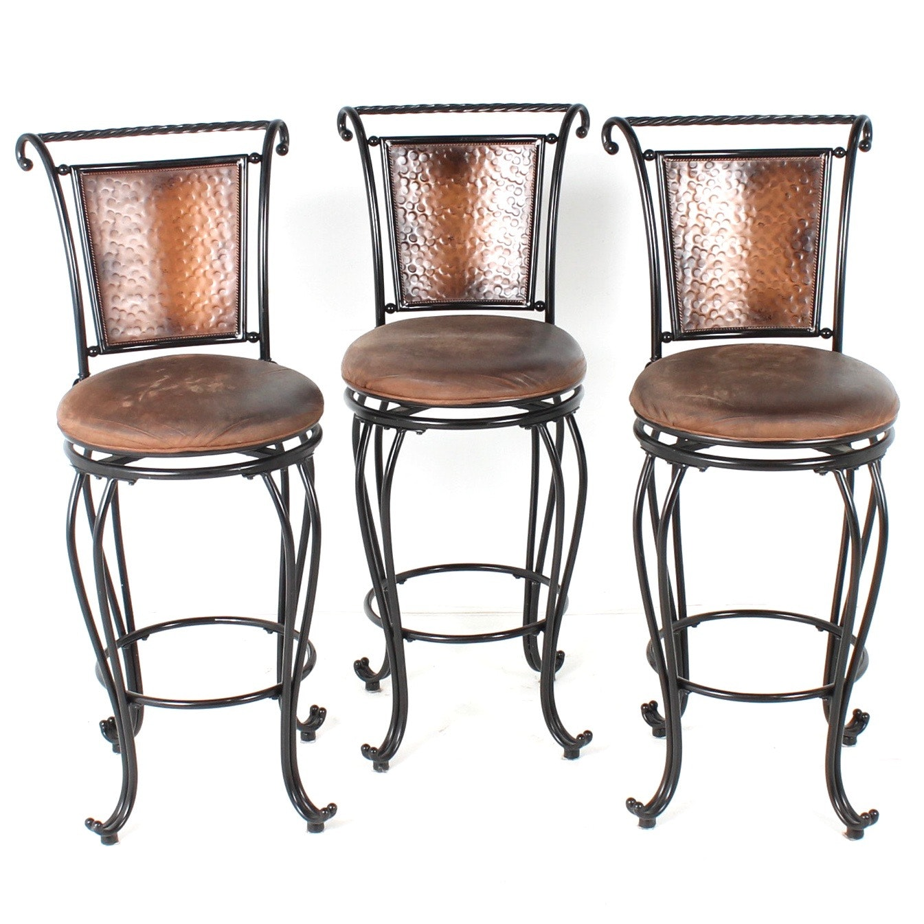 Hillsdale Furniture Leather and Hammered Copper Bar Stools