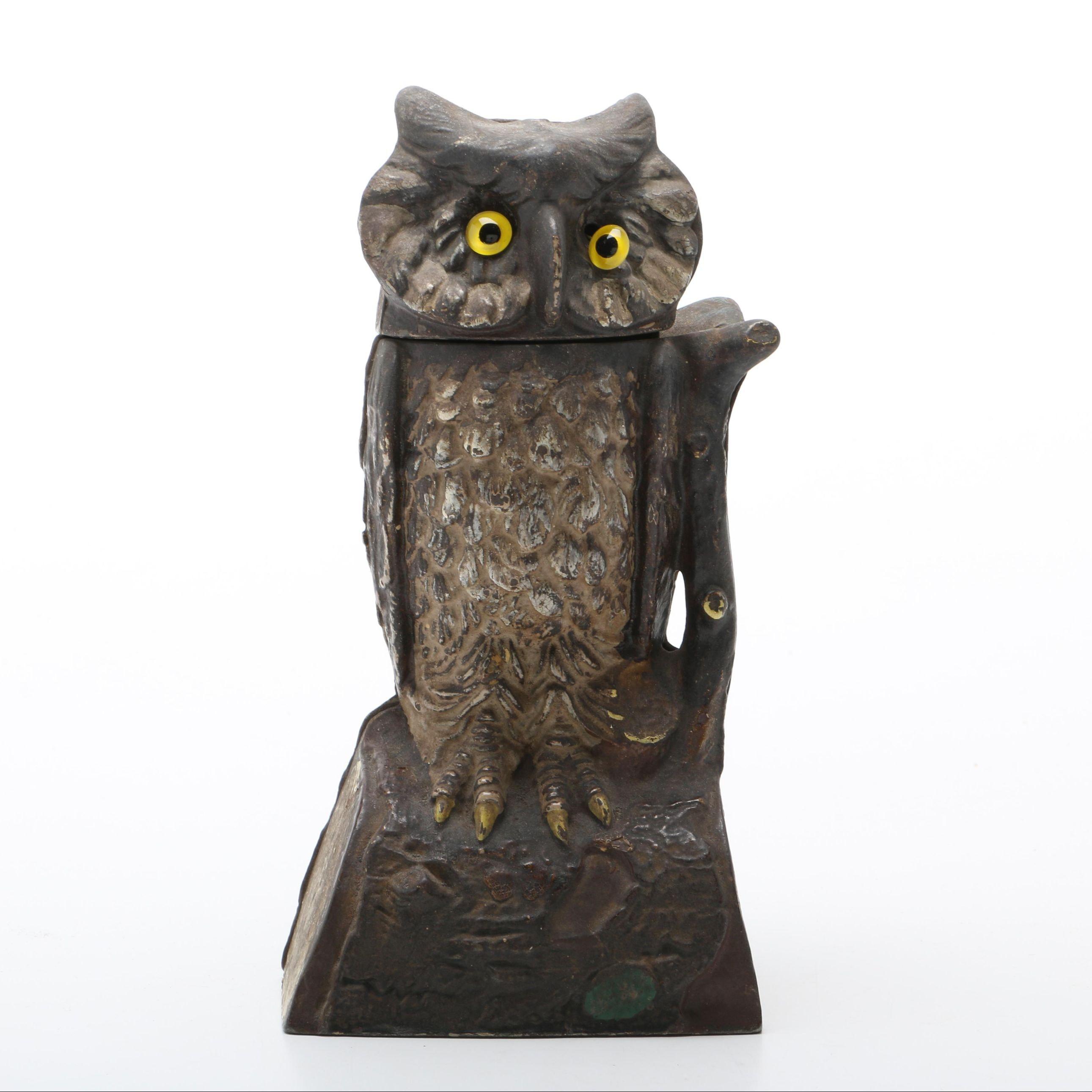 Vintage Mechanical Cast Iron Owl Bank