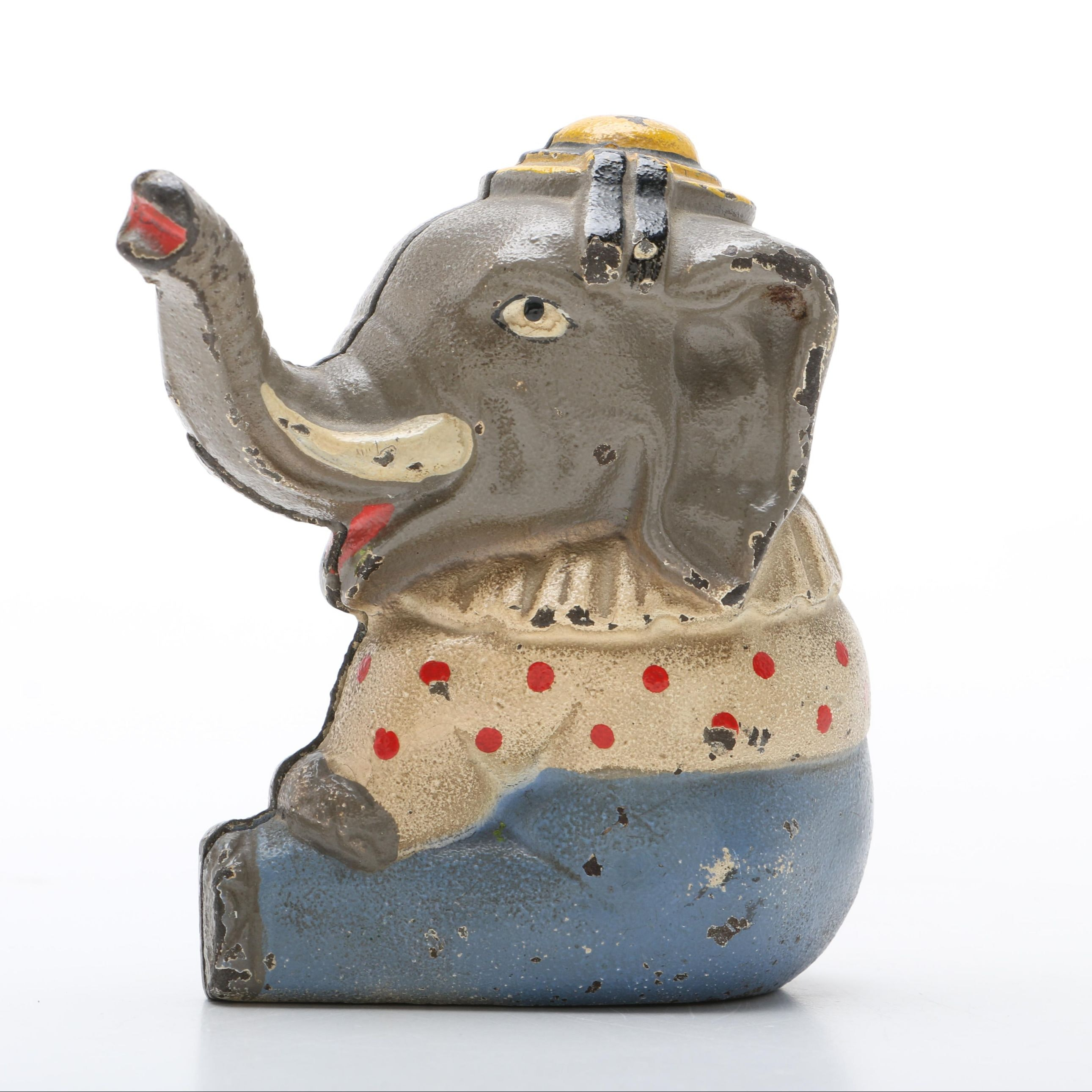 Vintage Cast Metal Baby Elephant Bank