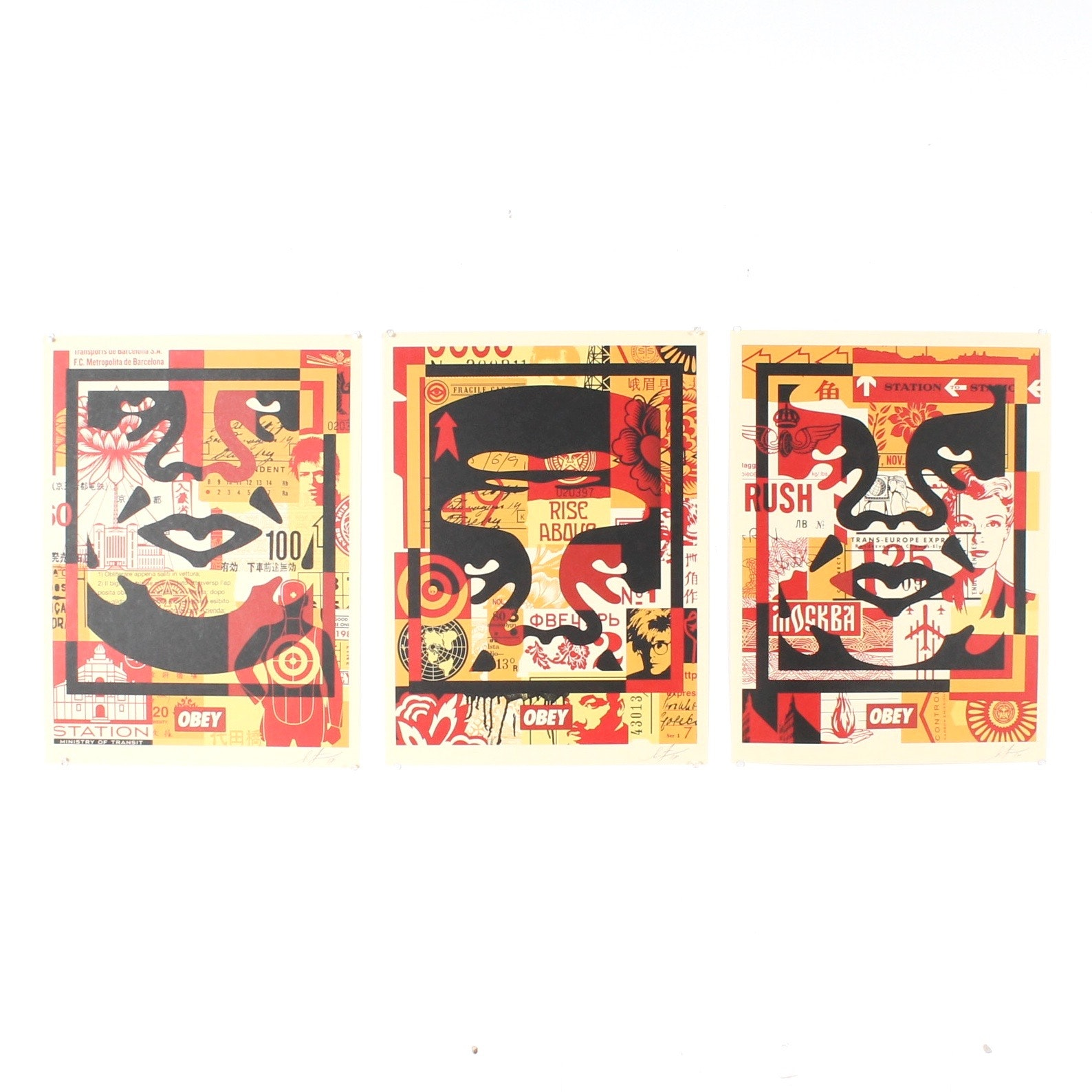 "Shepard Fairey Signed 2012 Offset Triptych ""3 Face Collage"""