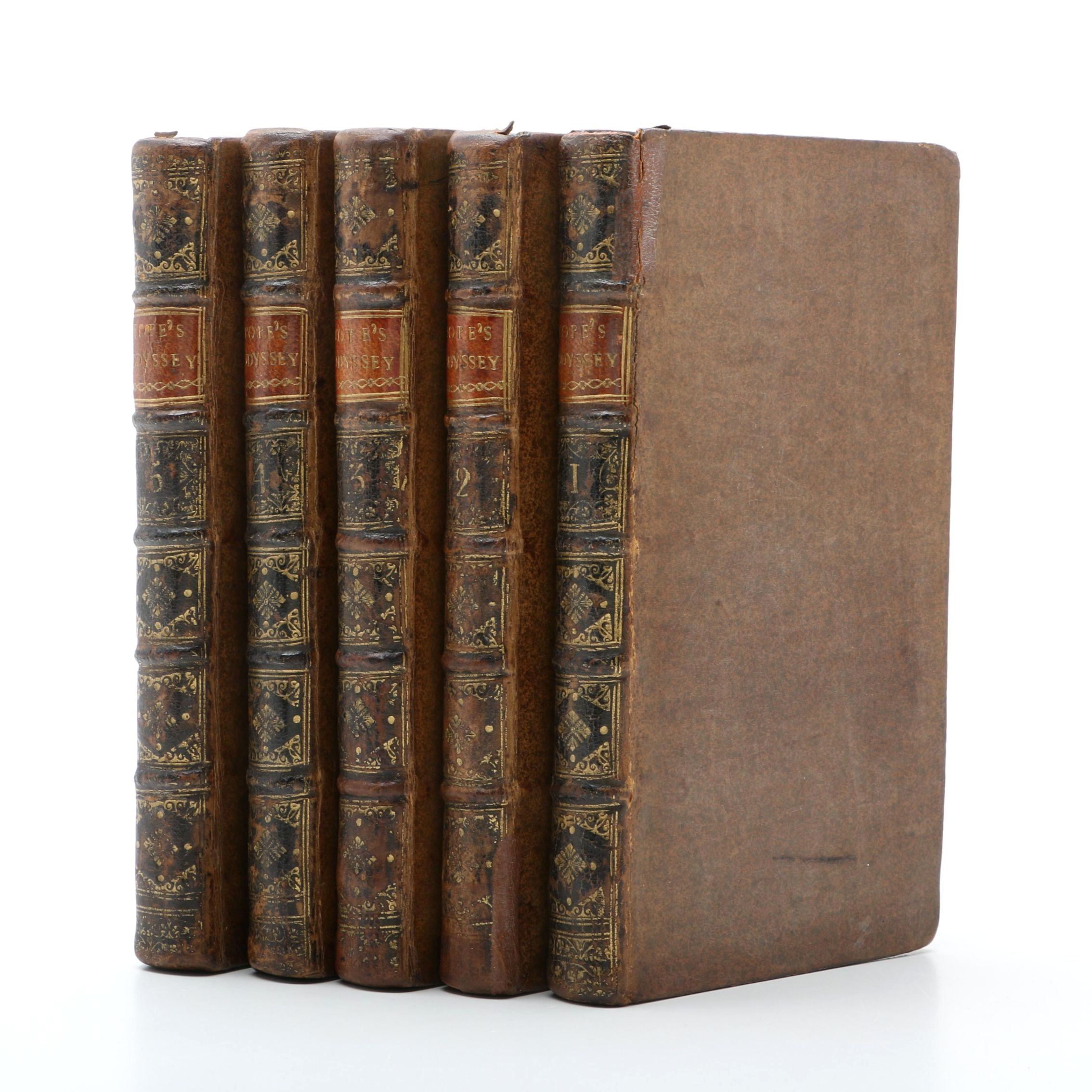 """1725-1726 Five Volume""""The Odyssey of Homer"""" Translated by Alexander Pope"""