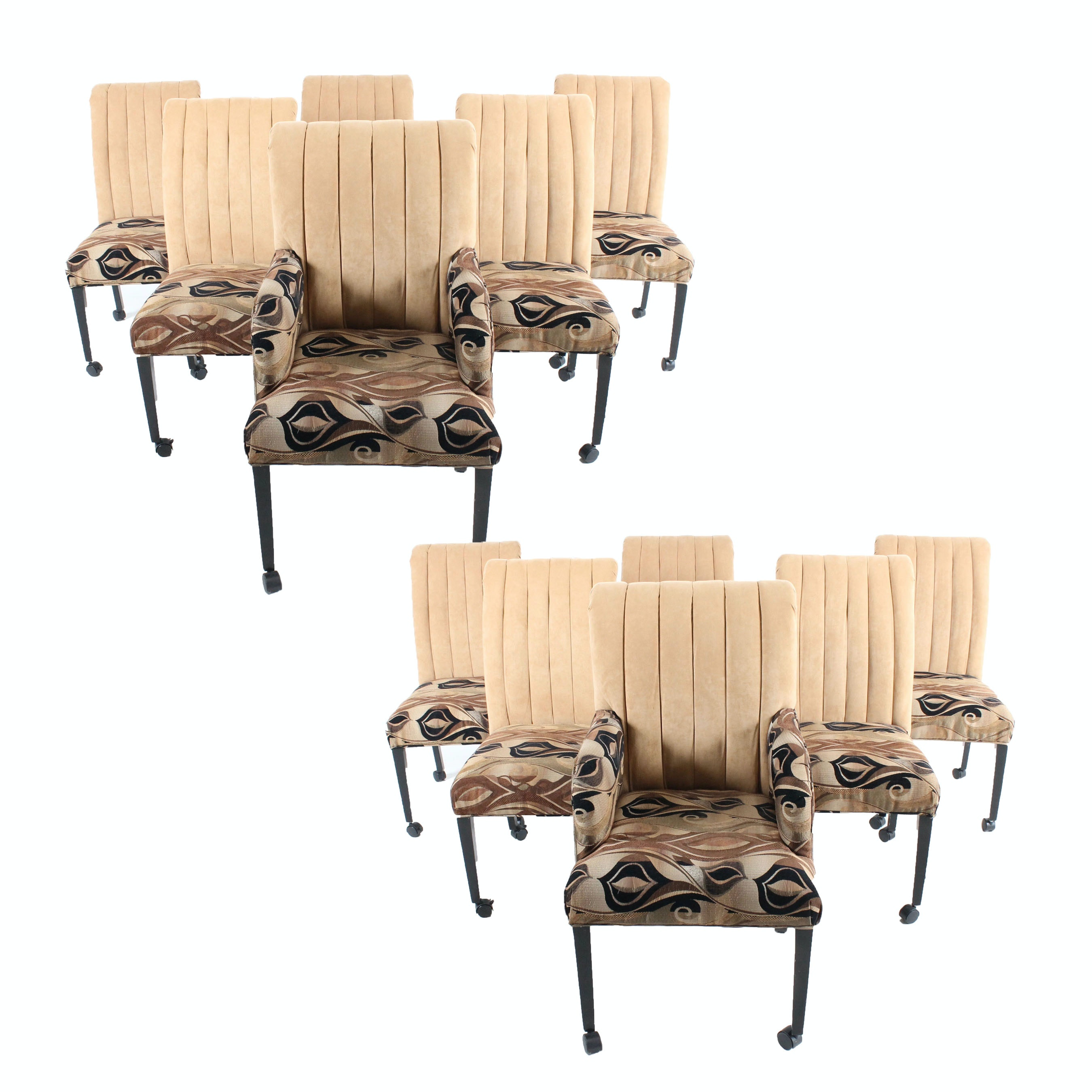 Upholstered High Back Dining Chairs with Casters