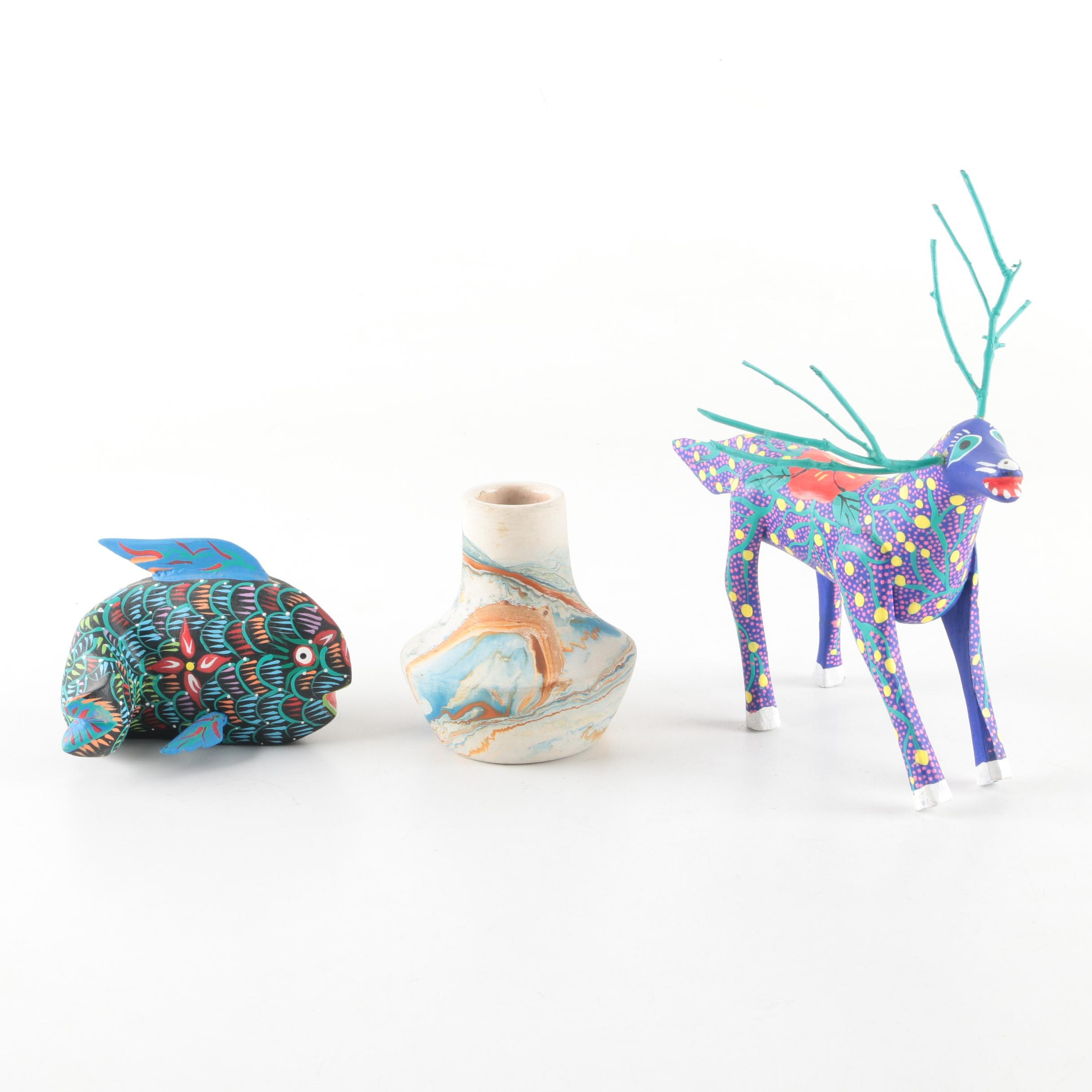 Signed Oaxacan Handmade Folk Art Animal Figurines and Nemadji Art Pottery Vase