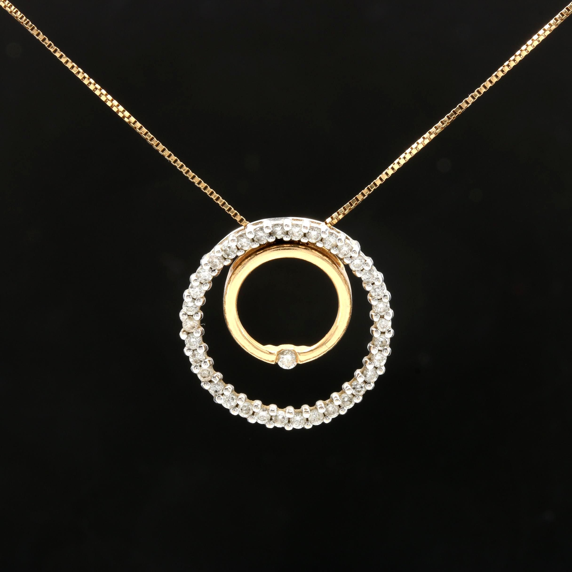 14K Yellow Gold Diamond Pendant Necklace with 14K White Gold Accent