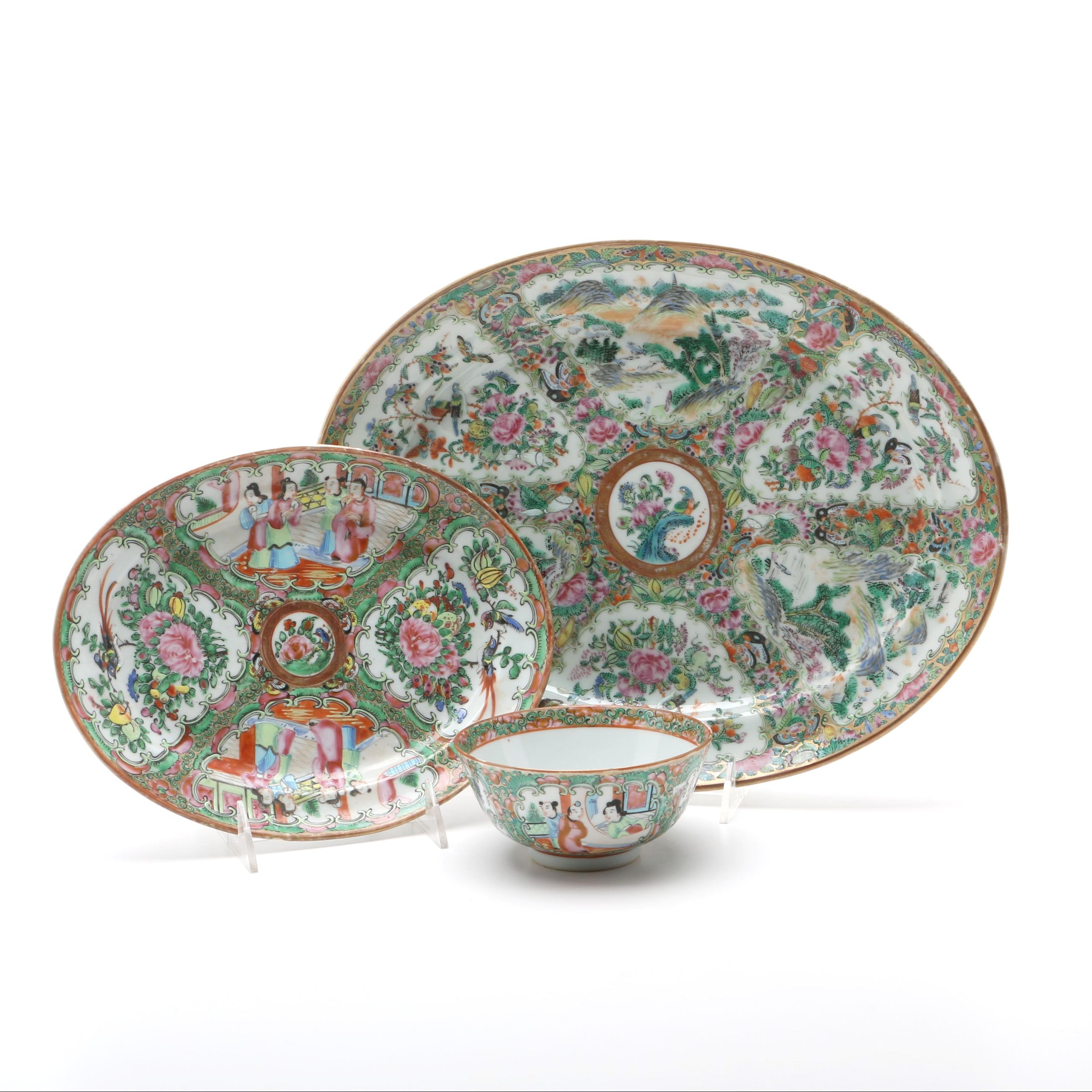 Antique Rose Medallion Platters and Bowl