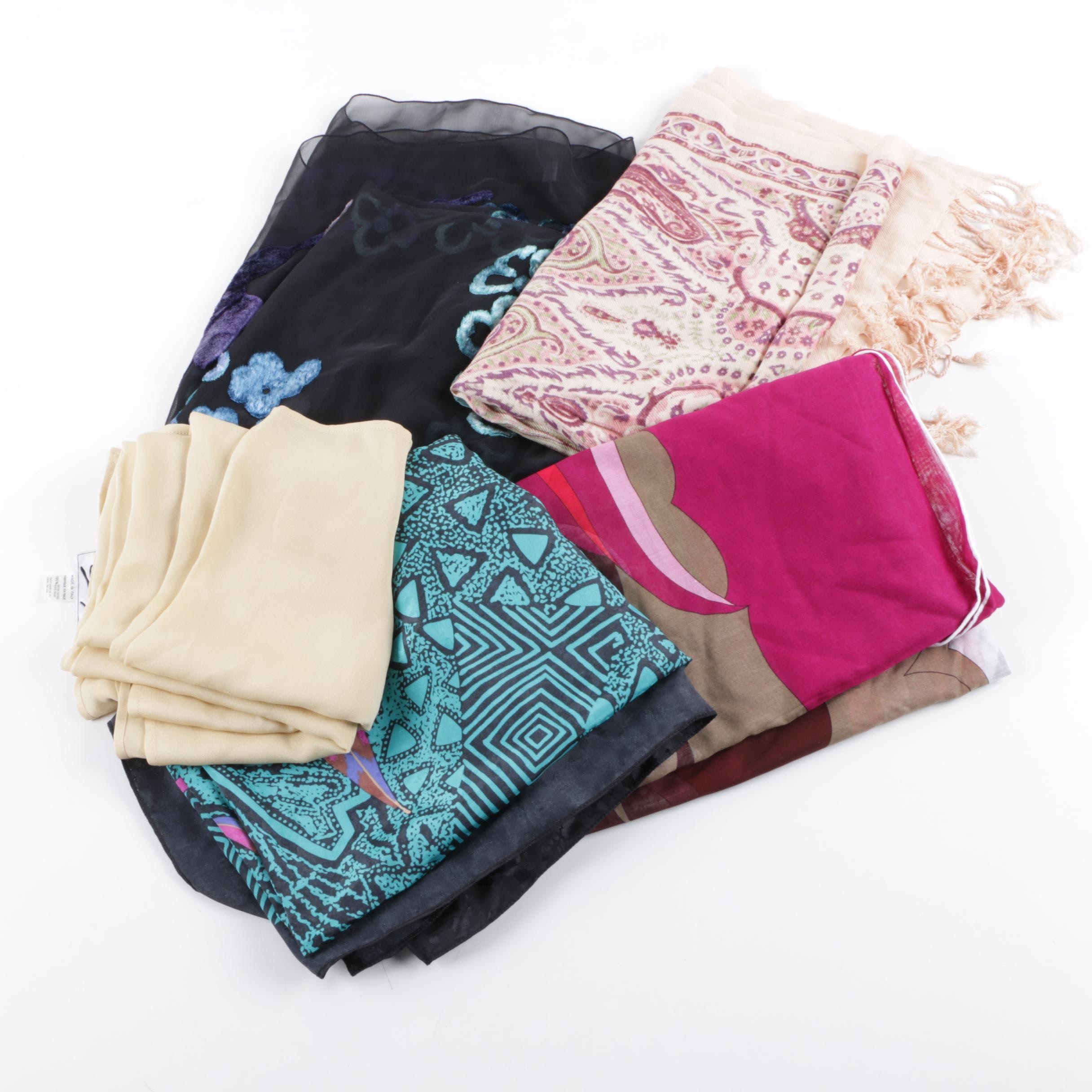 Designer Scarves Including Emilio Pucci and French Chenille Embroidery