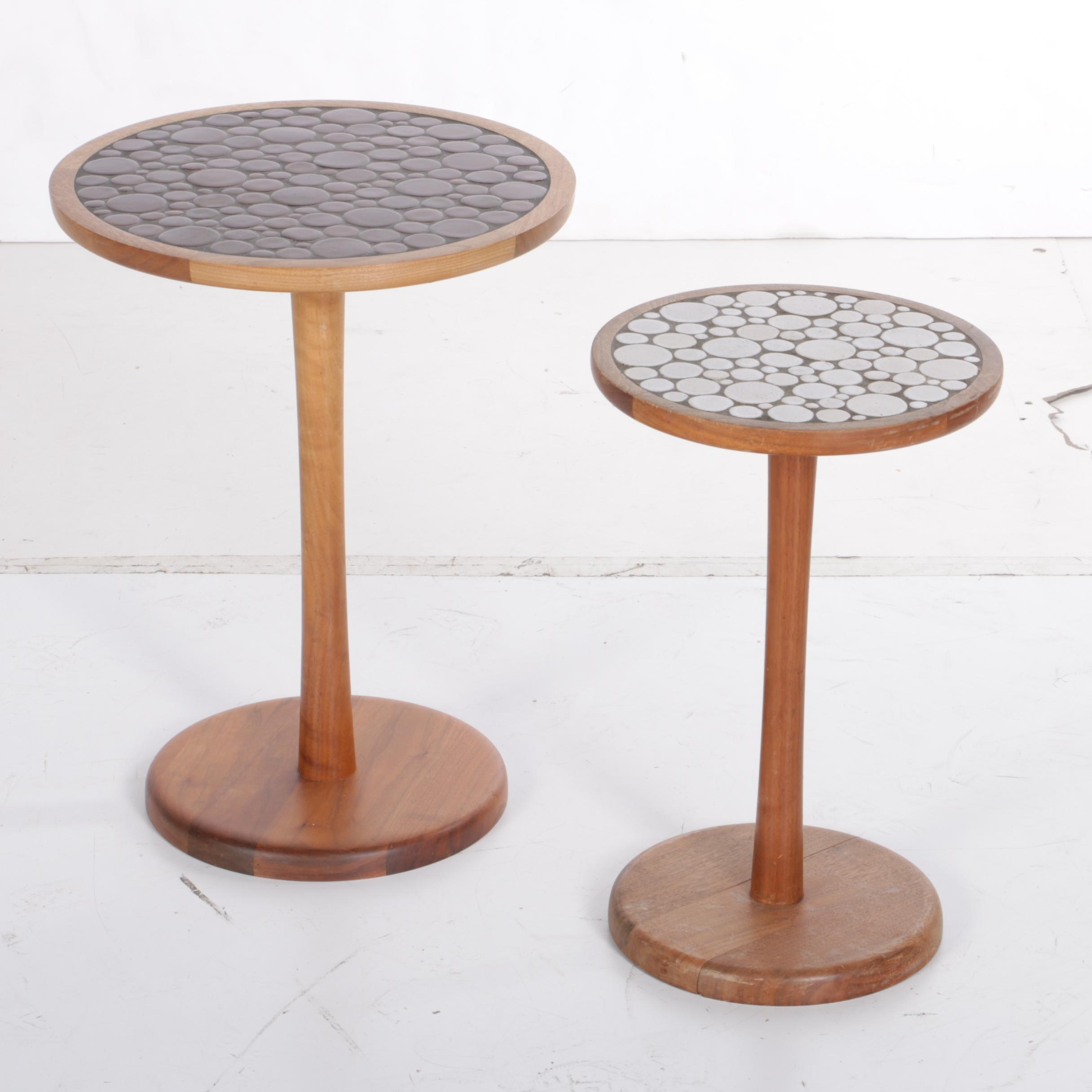 Martz Style Mid Century Modern Teak and Mosaic Accent Tables