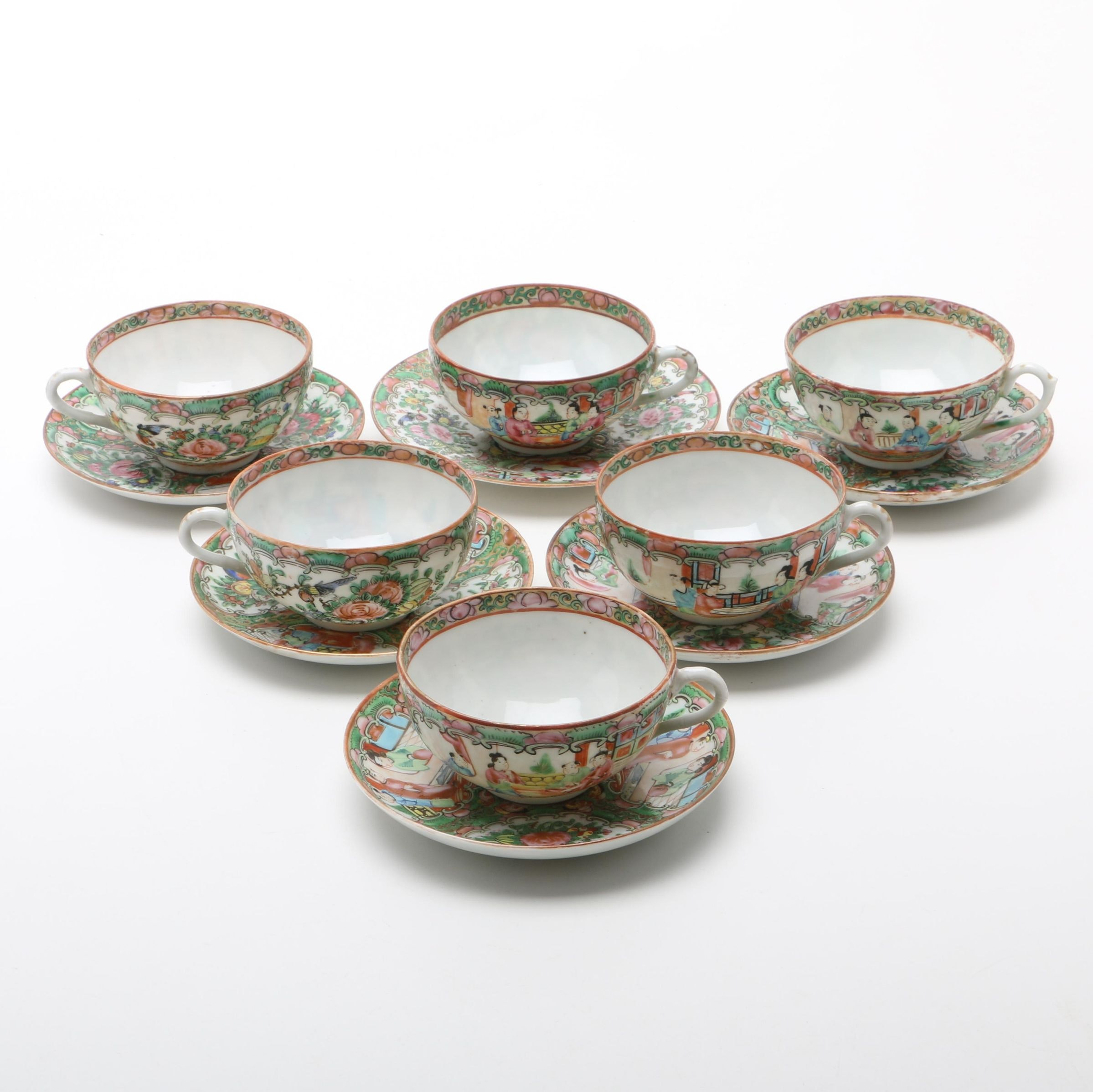 Antique Rose Medallion Teacups and Saucers